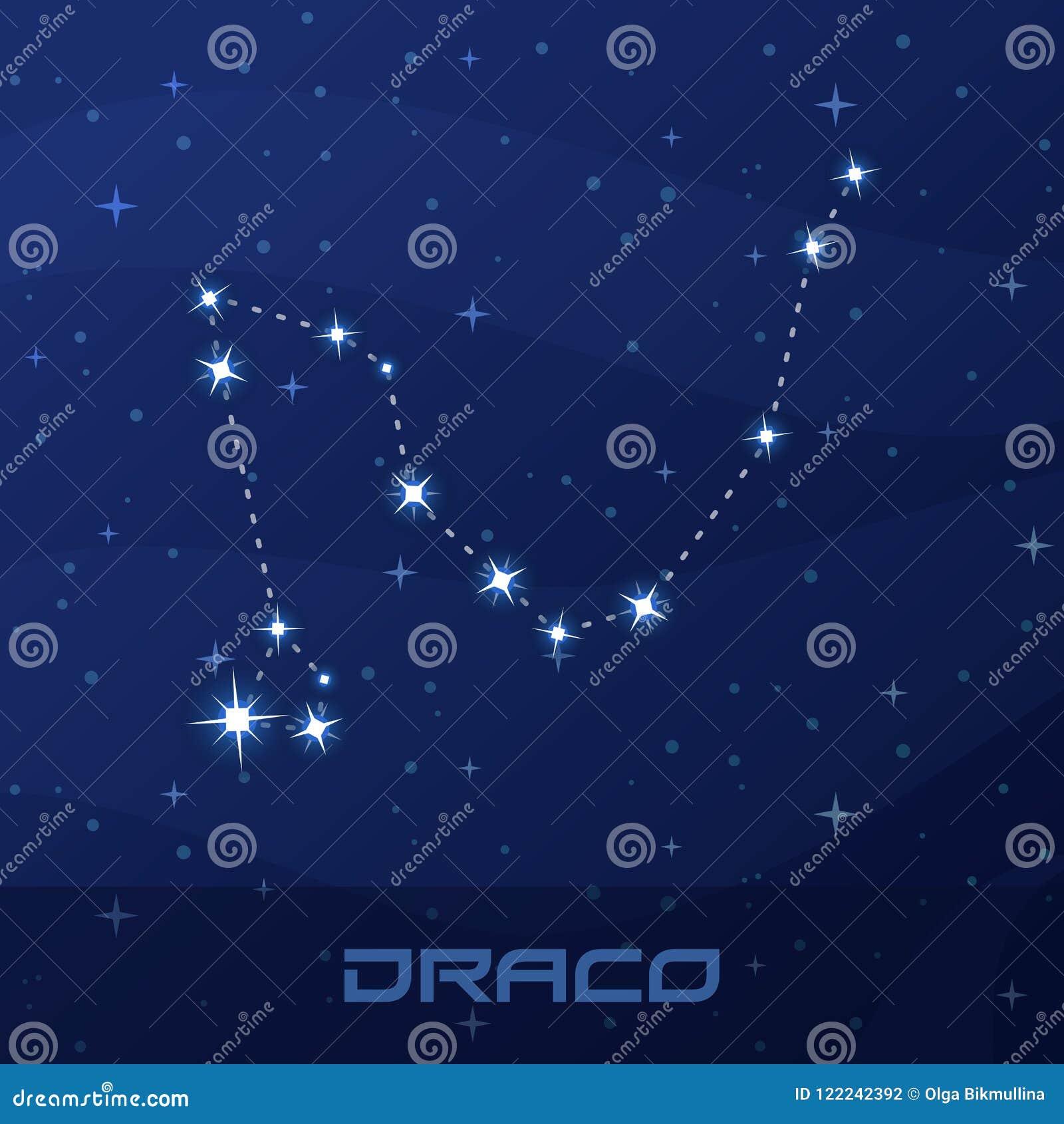 Constellation Draco, Dragon, Night Star Sky Stock Vector