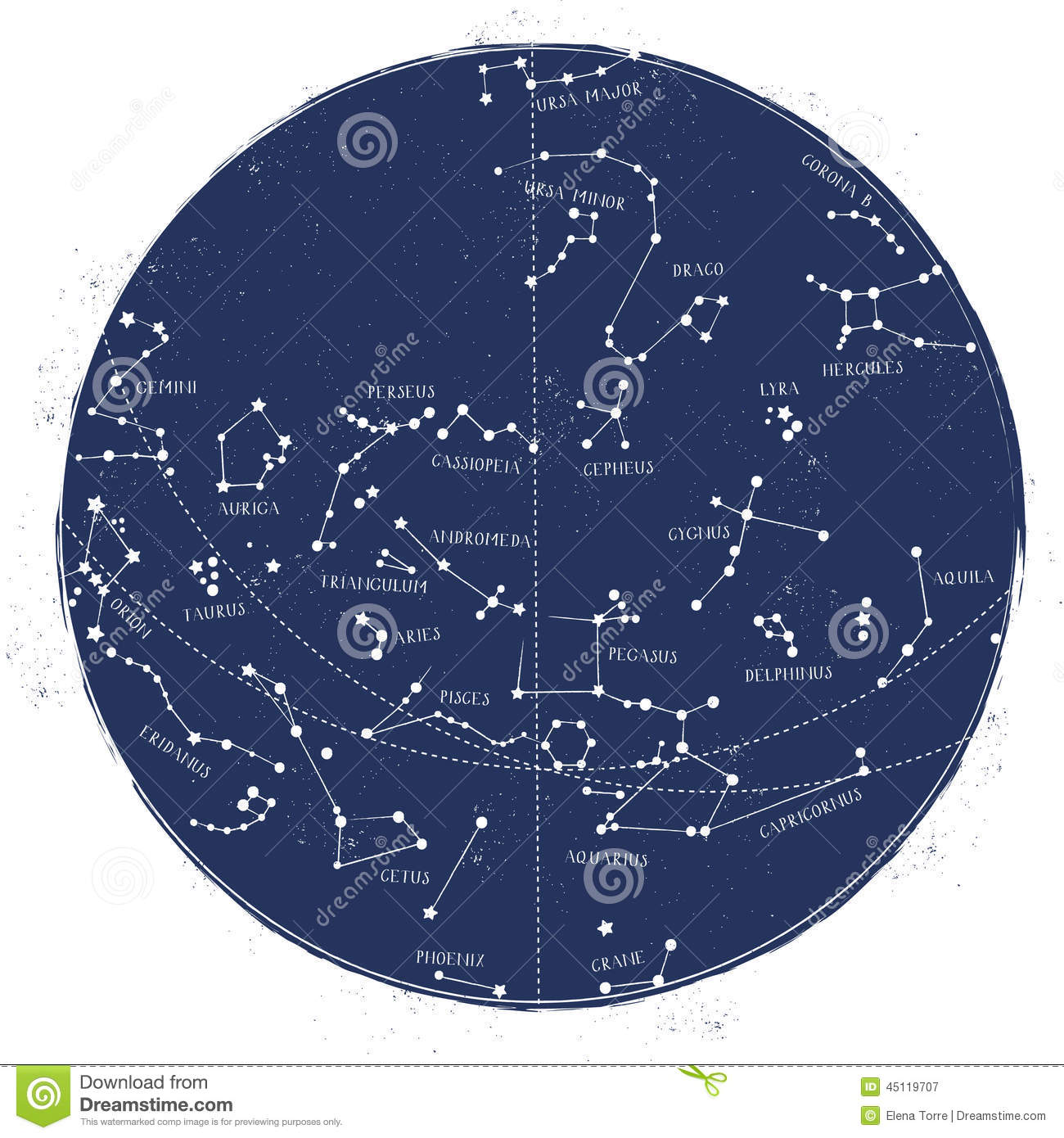 Astronomical Celestial Map of northern hemisphere, vintage style.