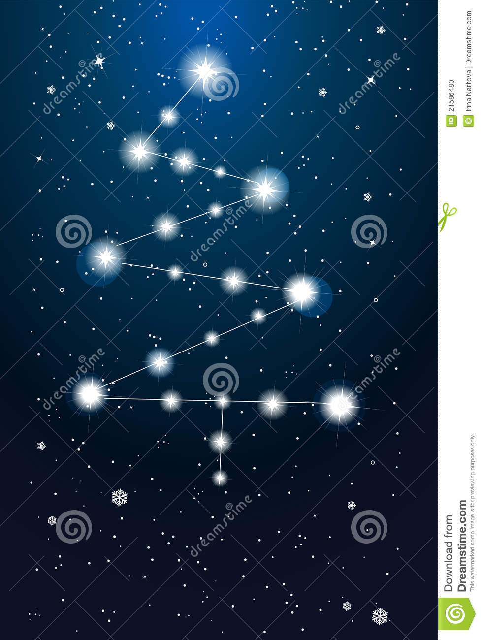 constellations - christmas tree on the sky stock vector