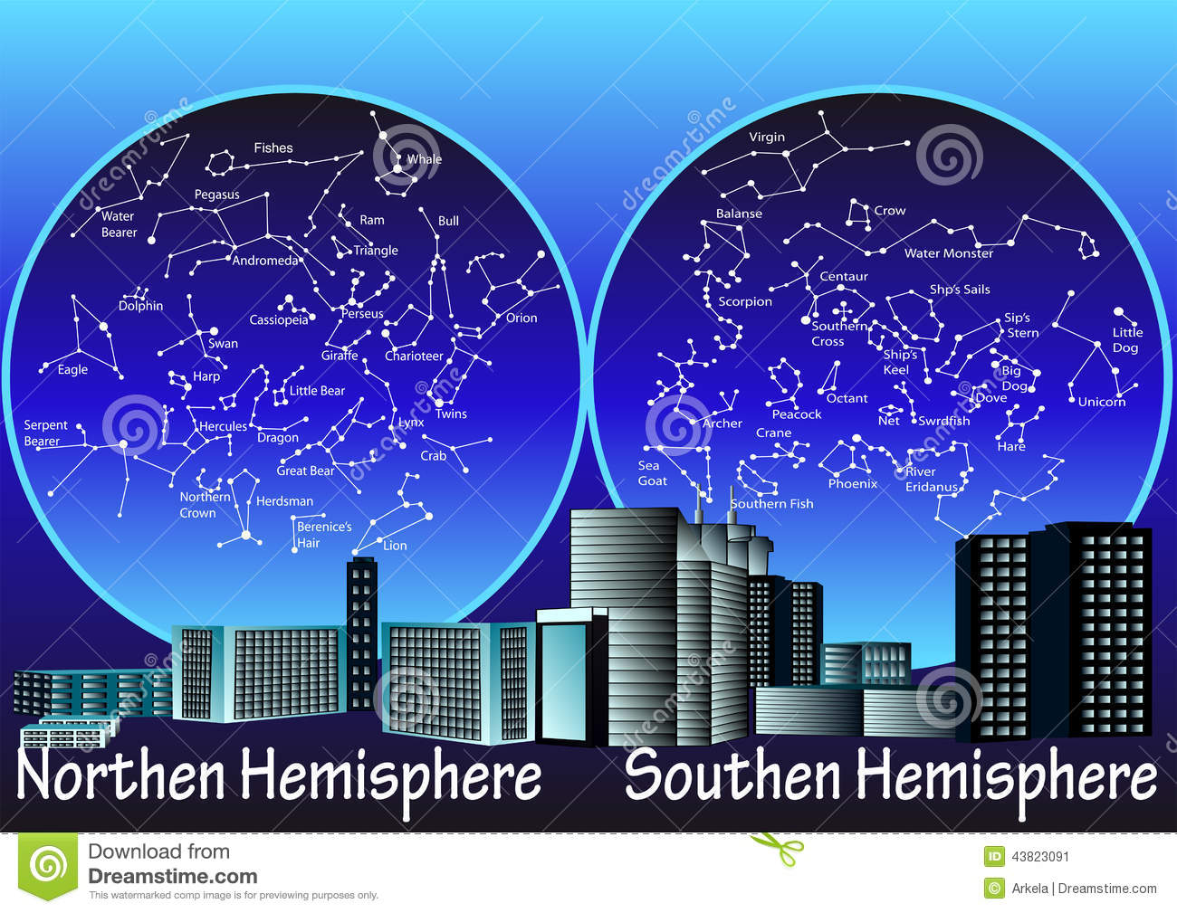 Constellations Of Hemisphere Stock Illustration - Image: 43823091