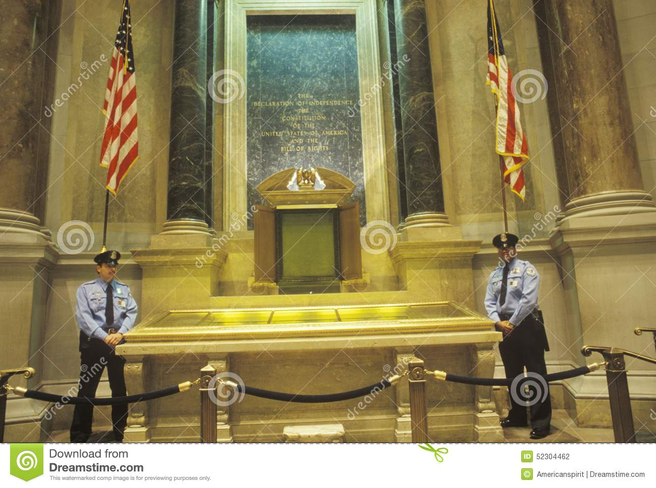 The Constitution And Bill Of Rights Guarded By Policemen ...