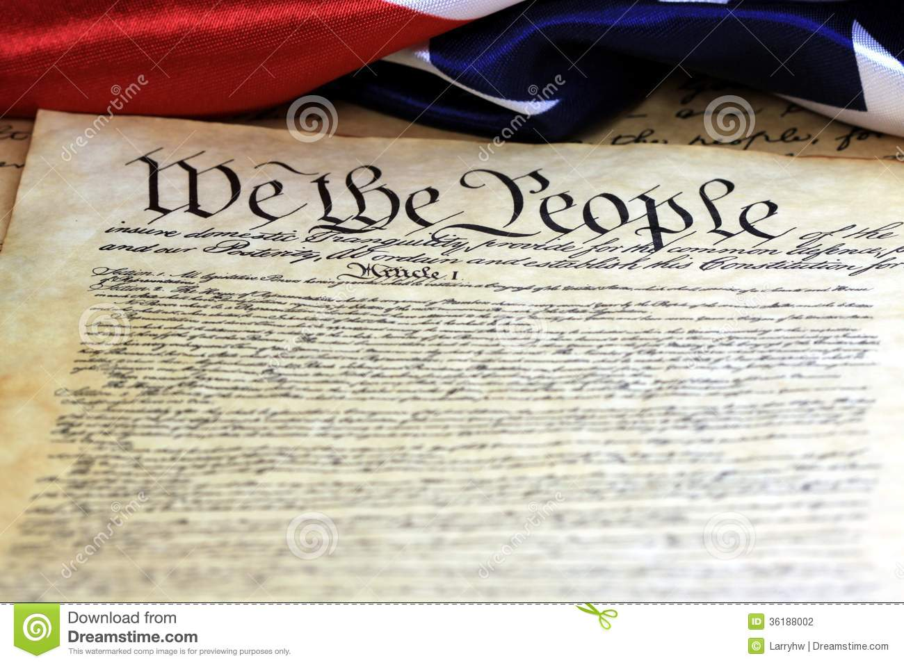 Stock Photography Constitution United States People Preamble To Americ...