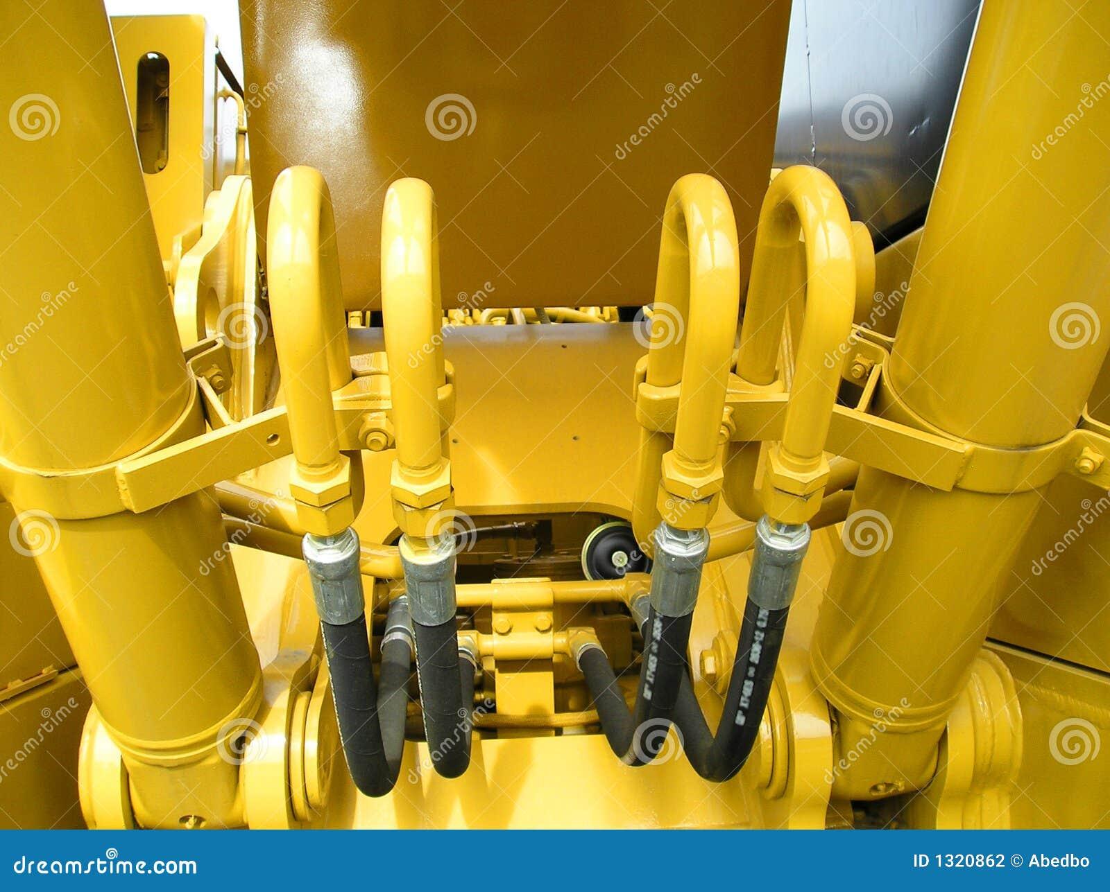 Construção amarela brilhante do close up do trator