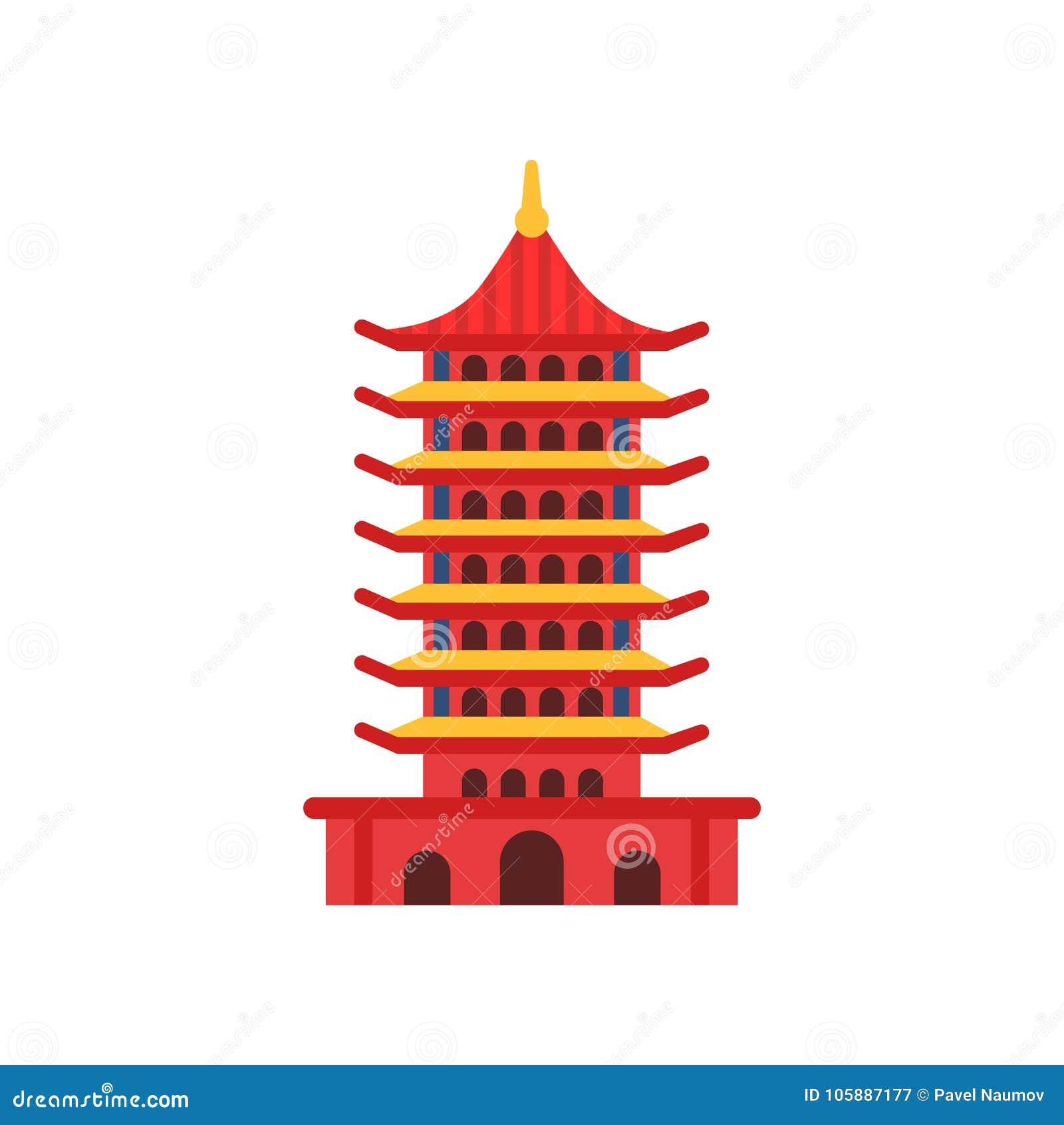 construção chinesa do pagode torre multi estratificado dos desenhos
