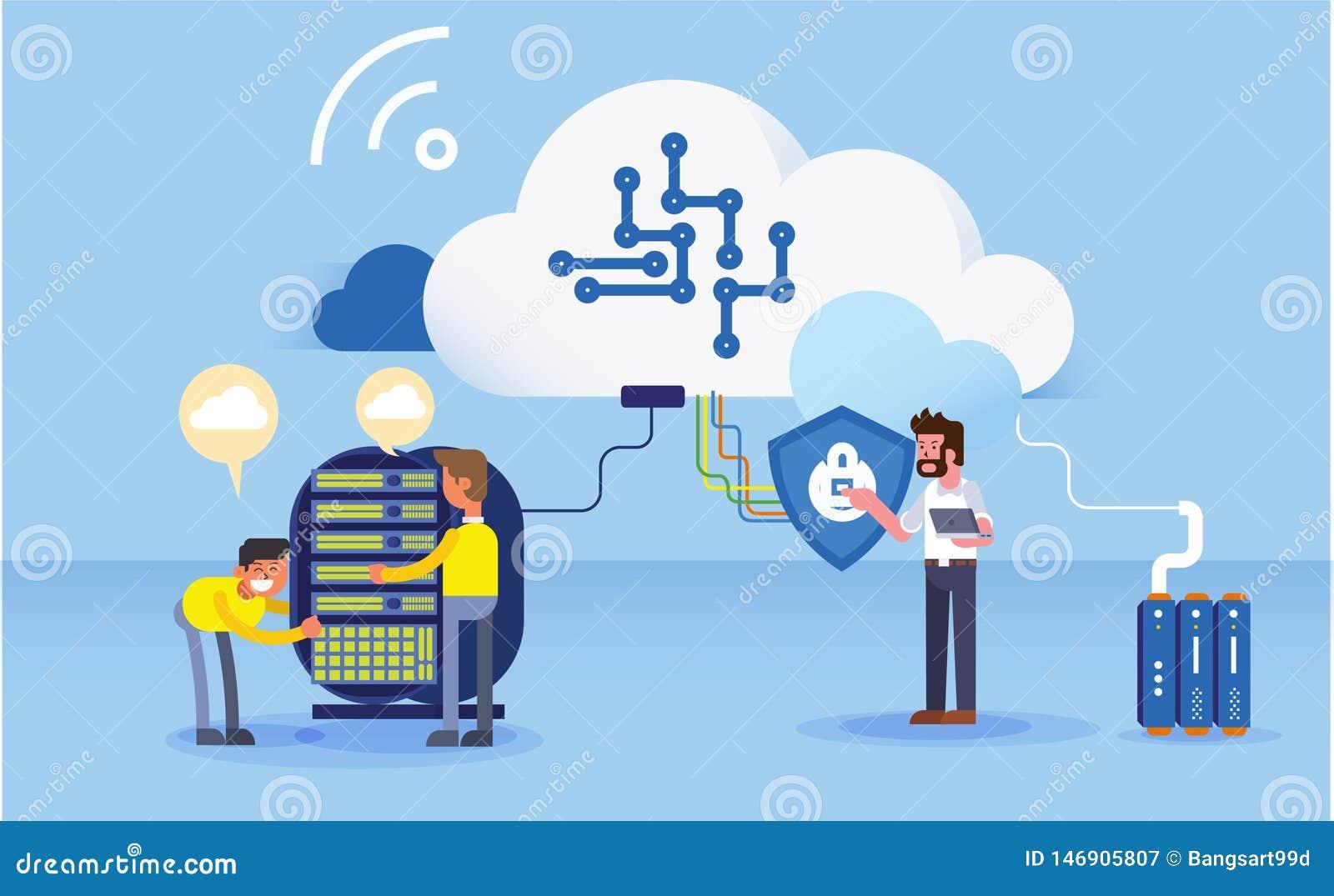 Construção da ilustração do Web site do escritório para negócios dos dados