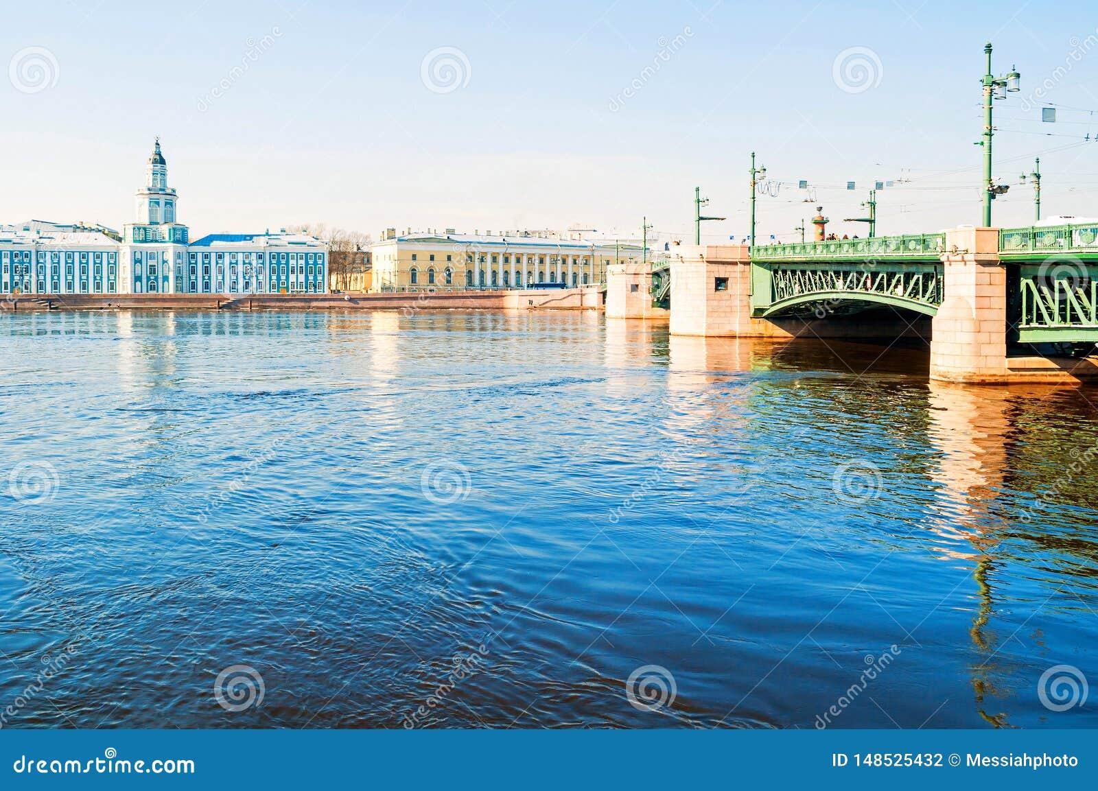 Construção de Kunstkamera, museu zoológico e ponte do palácio sobre o rio de Neva em St Petersburg, Rússia - panorama da cidade