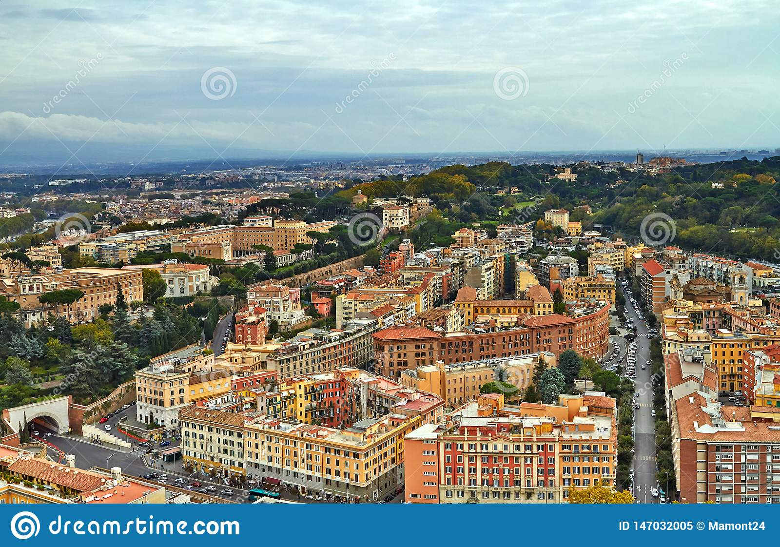 Construção do panorama de Roma