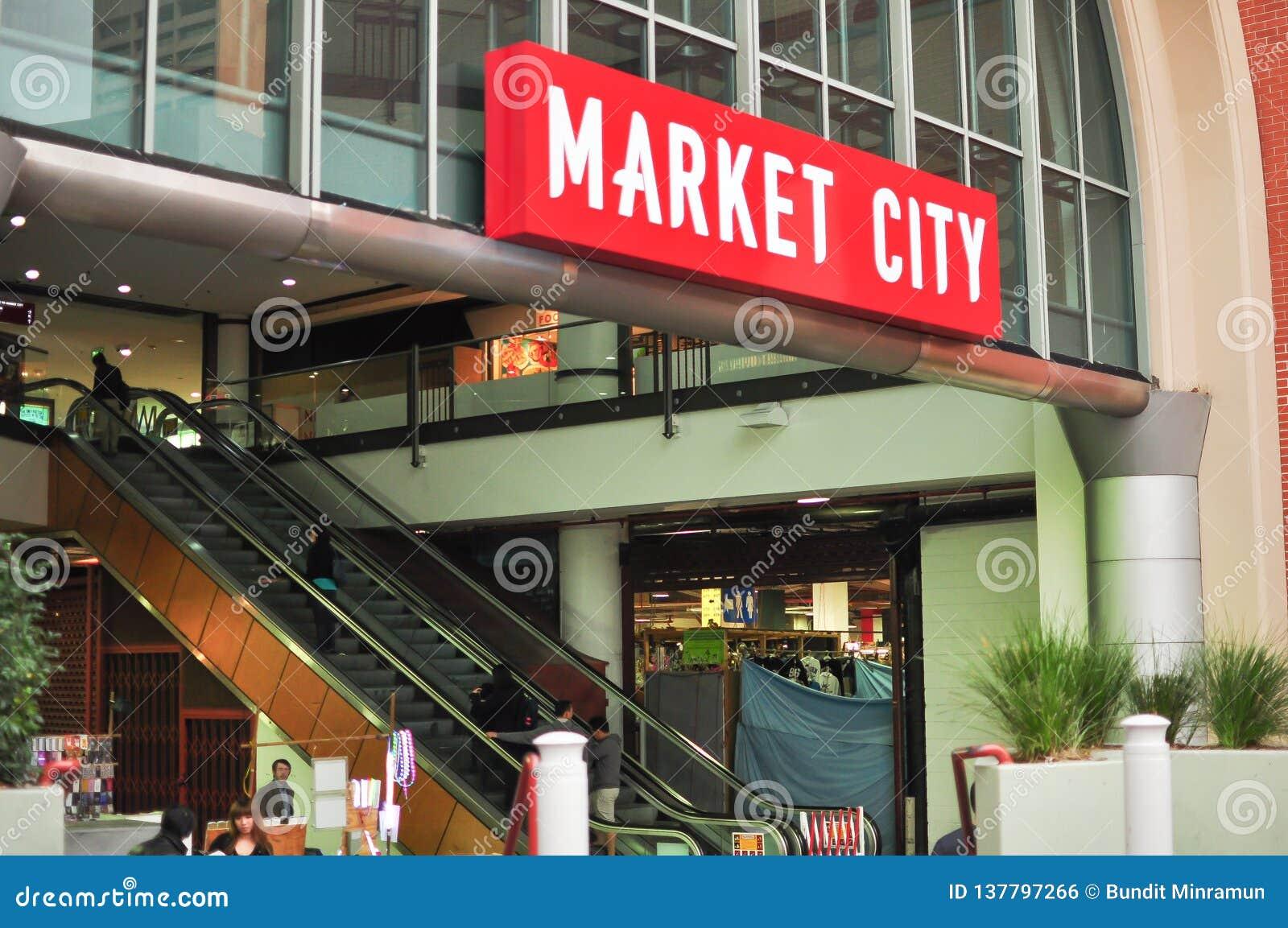A construção do shopping da cidade do mercado, situada no extremidade sul do distrito financeiro central de Sydney inclui muito d