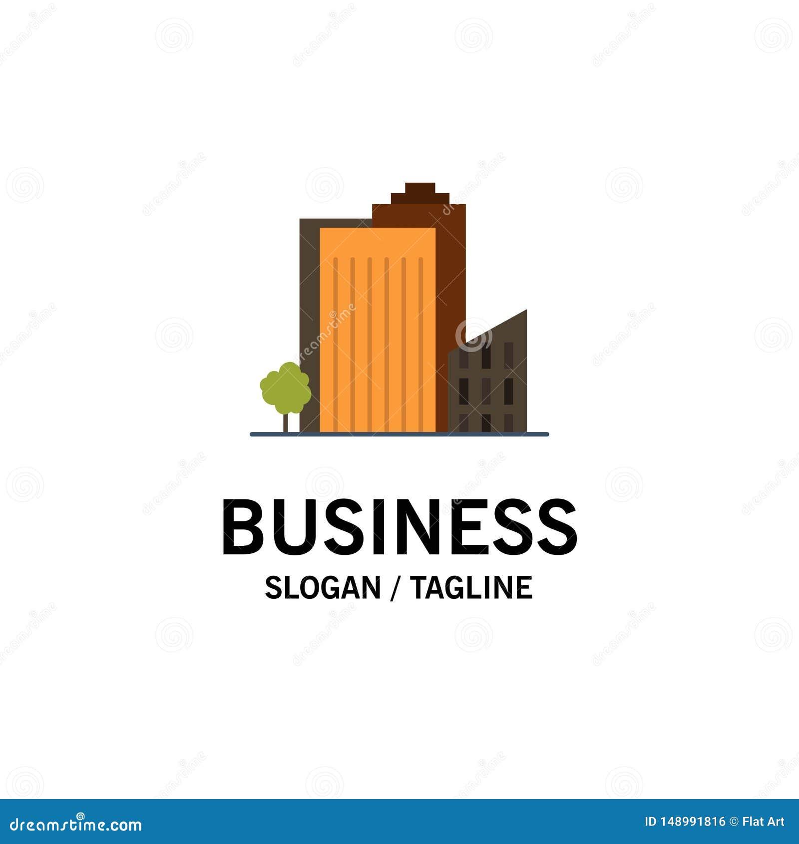 Construção, construção, dormitório, torre, negócio Logo Template de Real Estate cor lisa