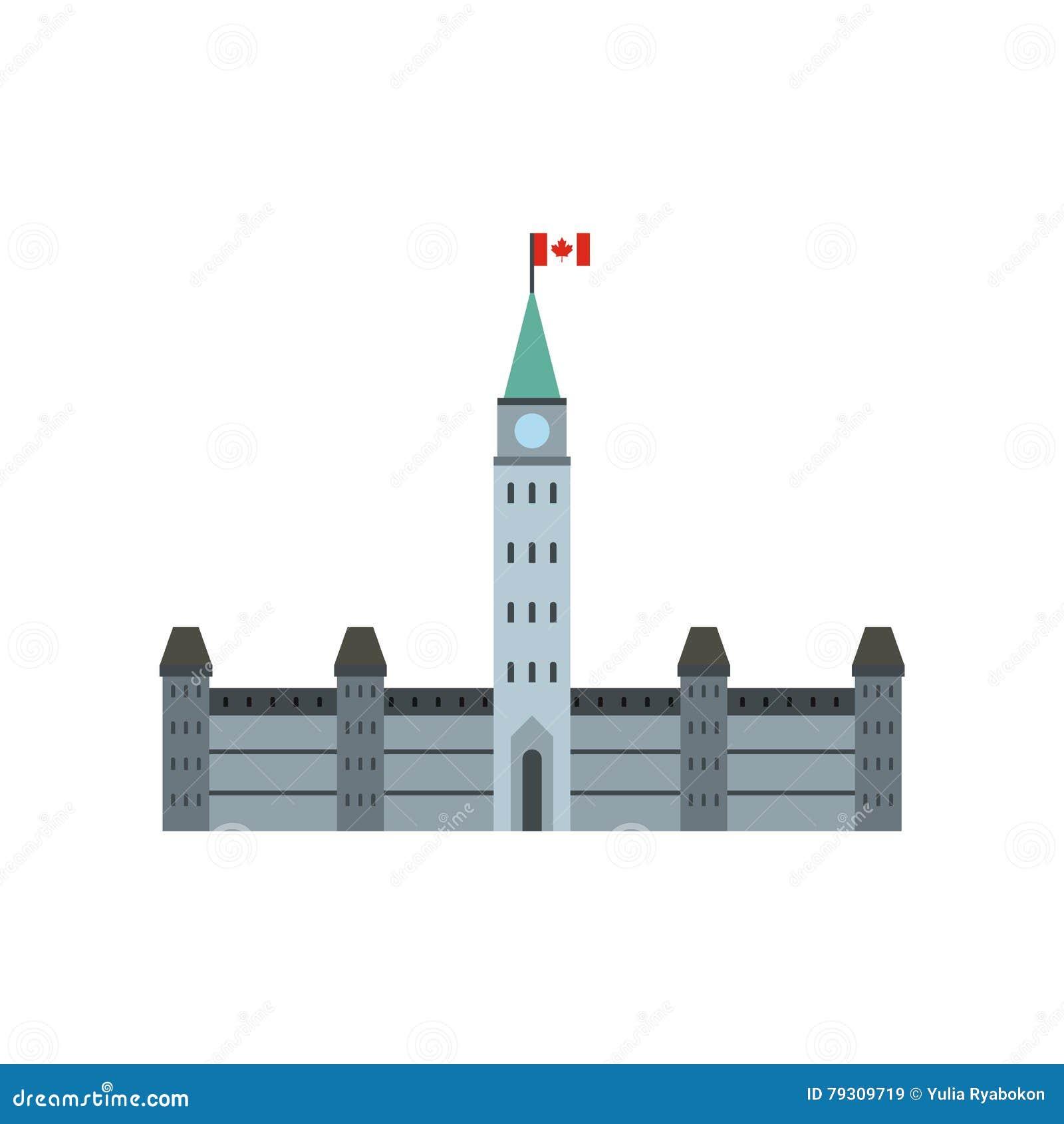 Construções do parlamento, ícone de Ottawa, estilo liso