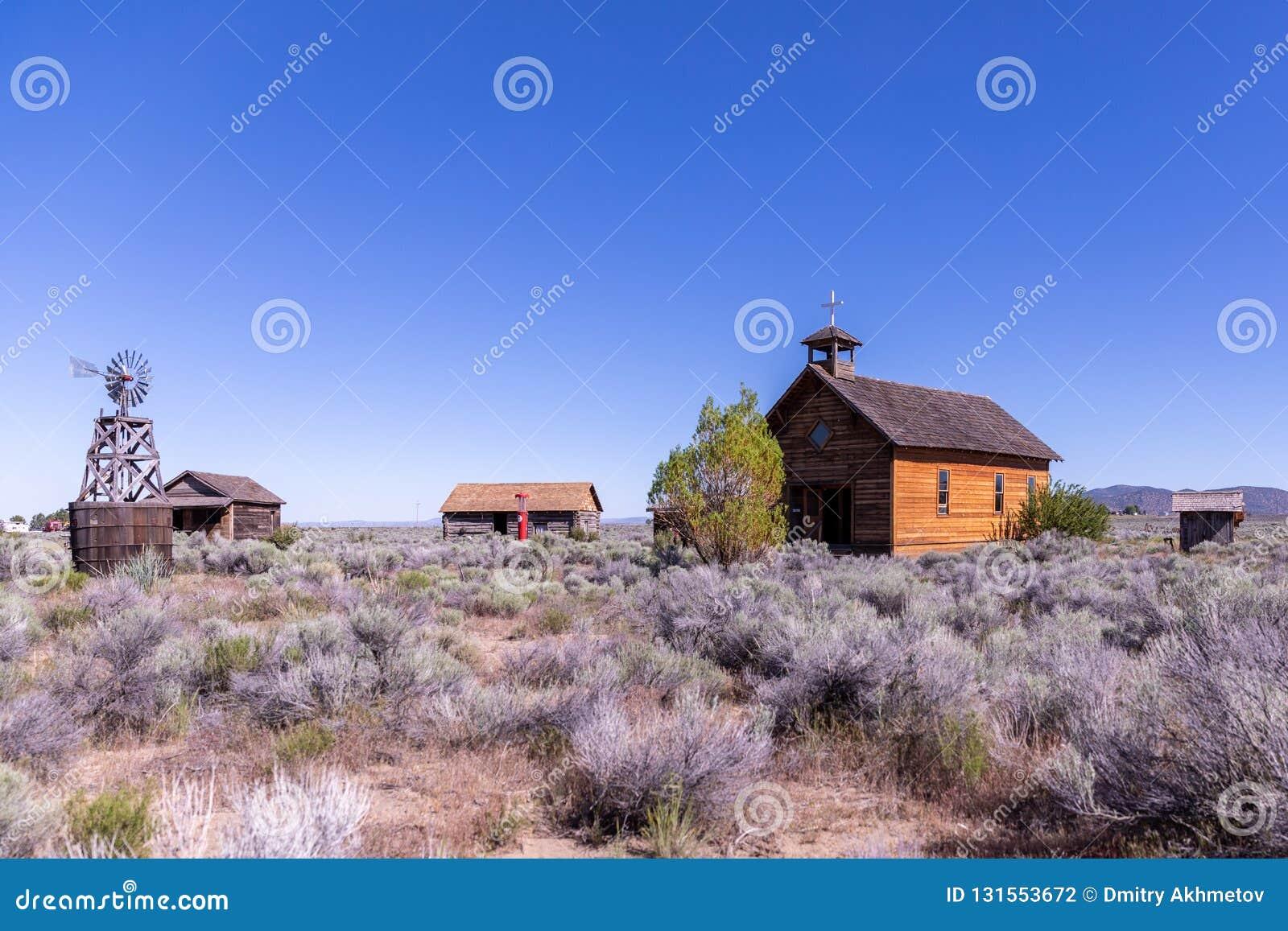 Construções históricas em uma herdade do deserto