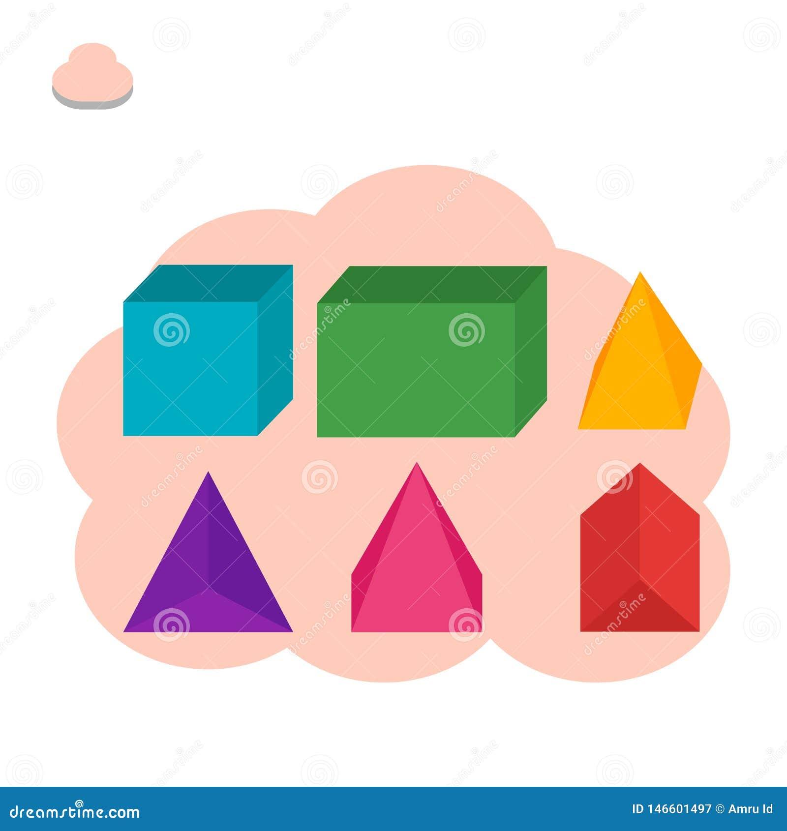 Construa o cubo, feixe, prismas, ilustração dos espaços da pirâmide - vetor