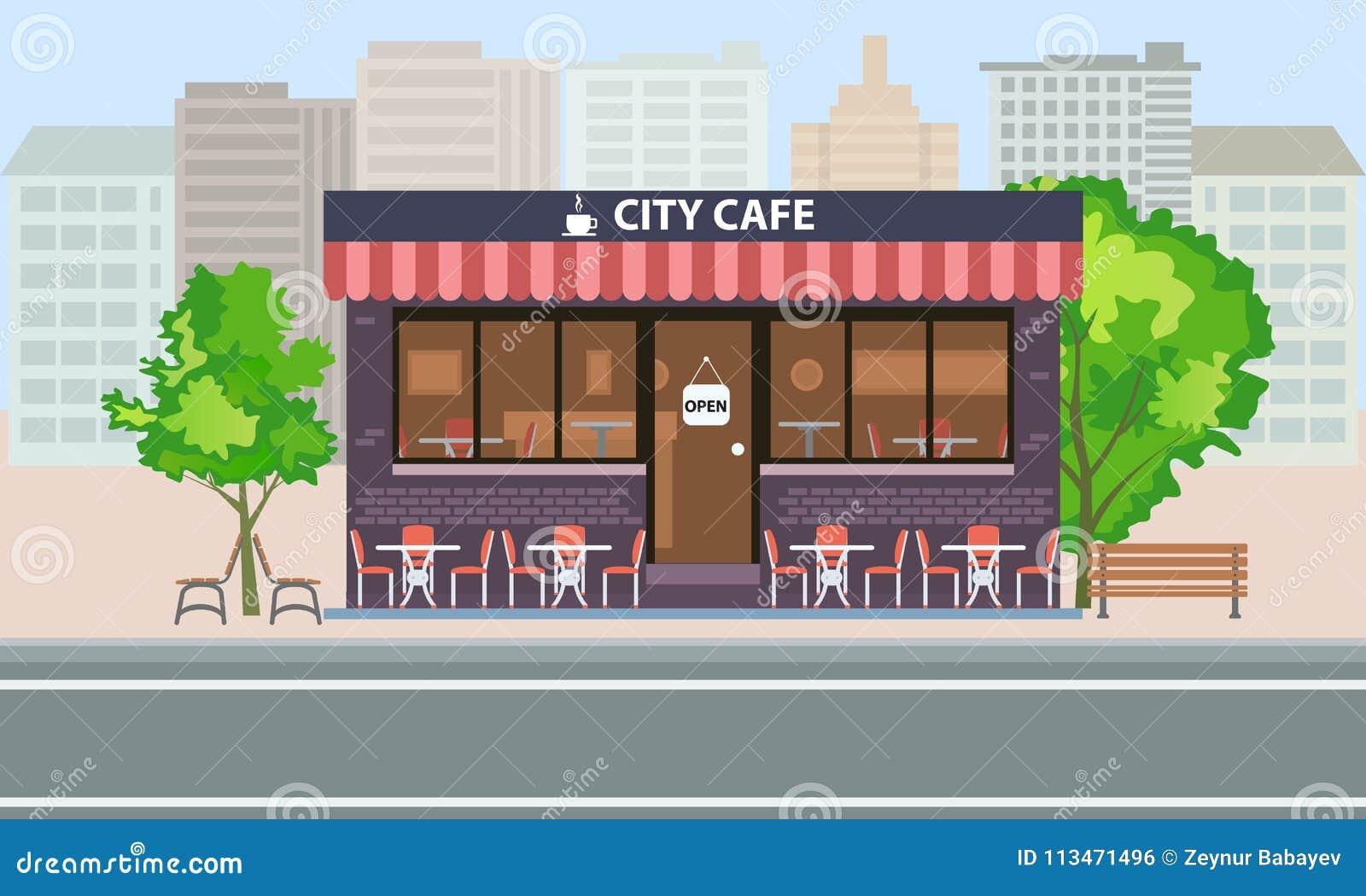 Construcción Central Del Café Exterior Con La Terraza Las