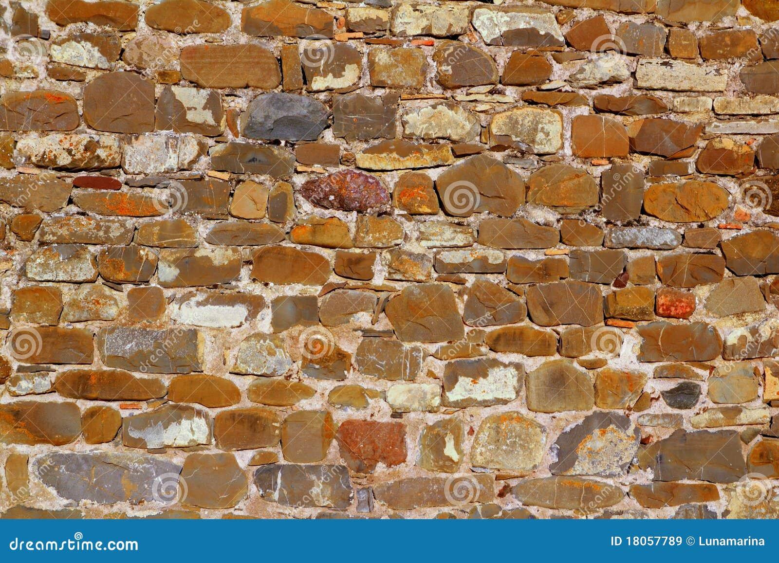 Construcción colorida de la piedra de la pared de albañilería