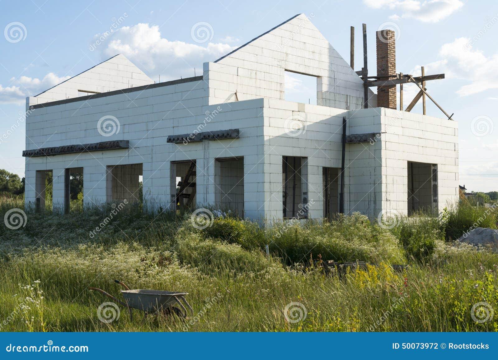 Construcci n de la nueva casa blanca del ladrillo foto de - Planos de la casa blanca ...