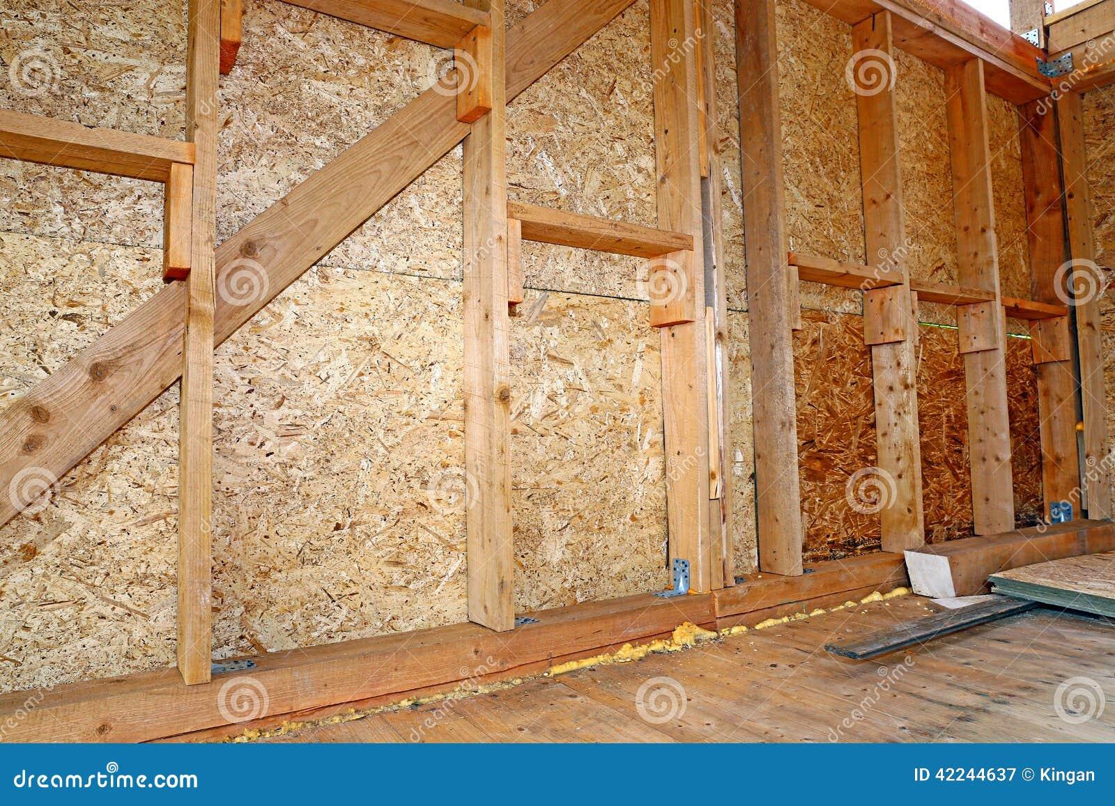 Construcci n de las paredes de madera del marco imagen de for Madera en paredes interiores