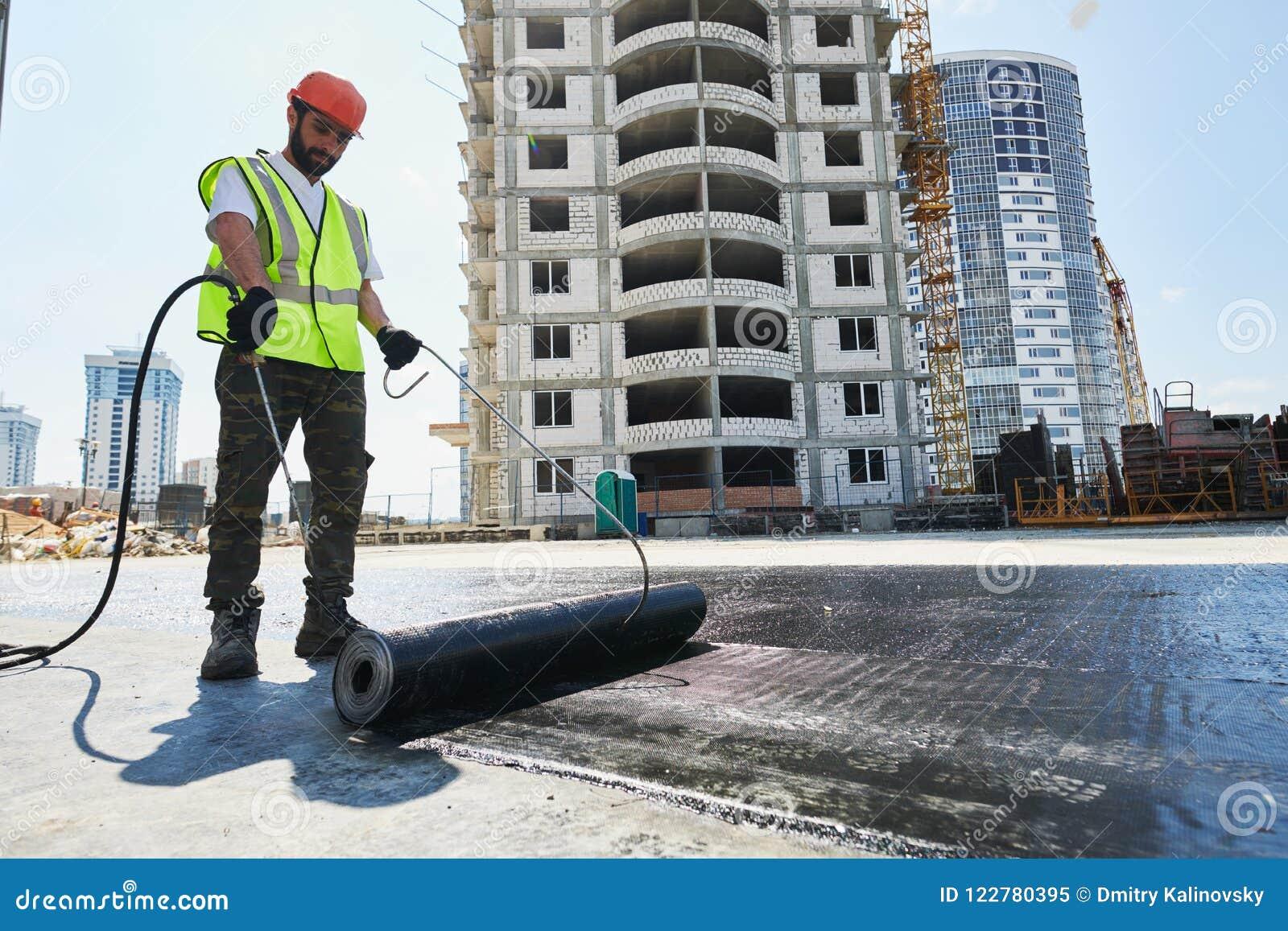 Construcción y aislamiento del tejado plano Fieltro de calefacción y de fusión de la techumbre del betún