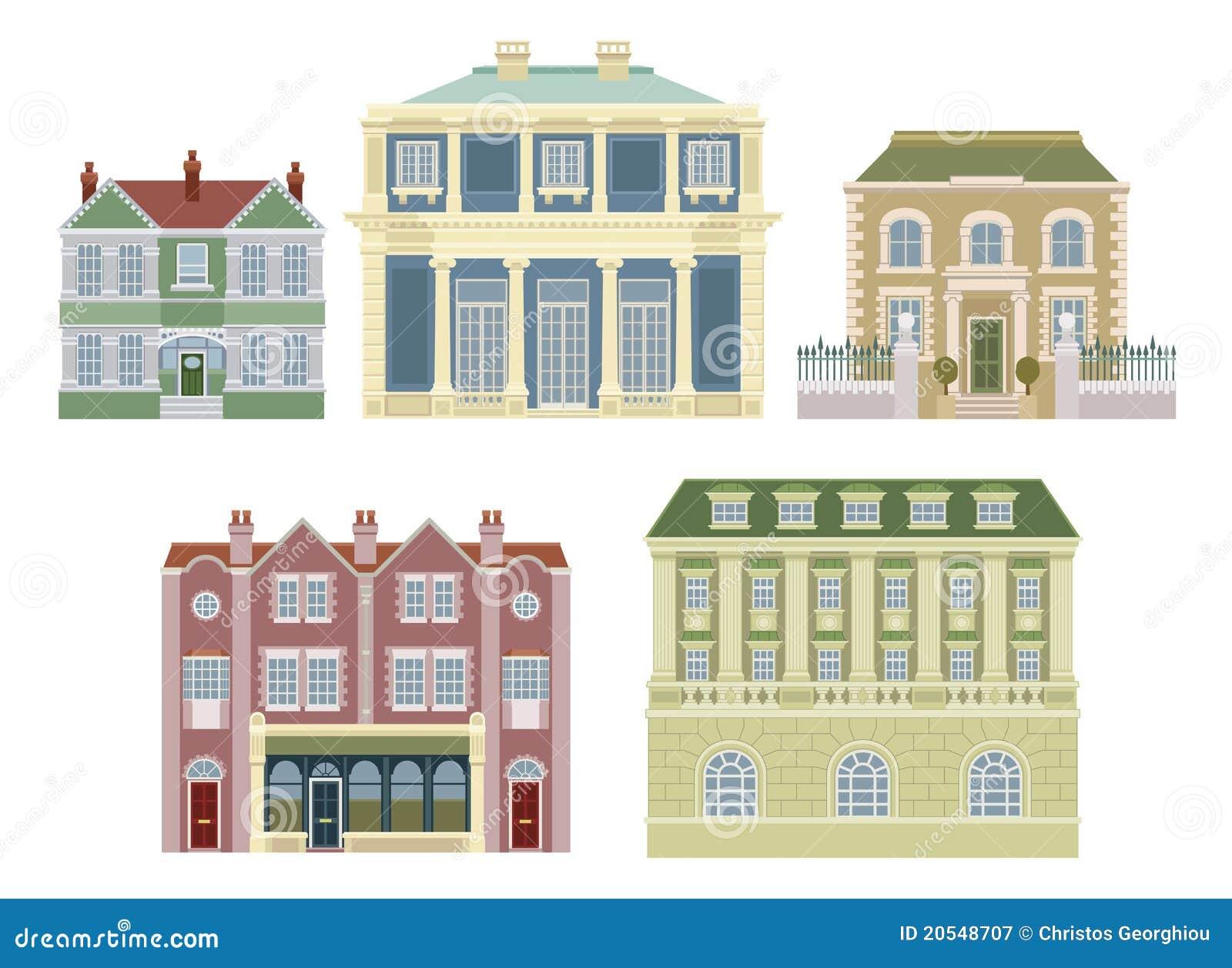 Construcciones de viviendas pasadas de moda de lujo