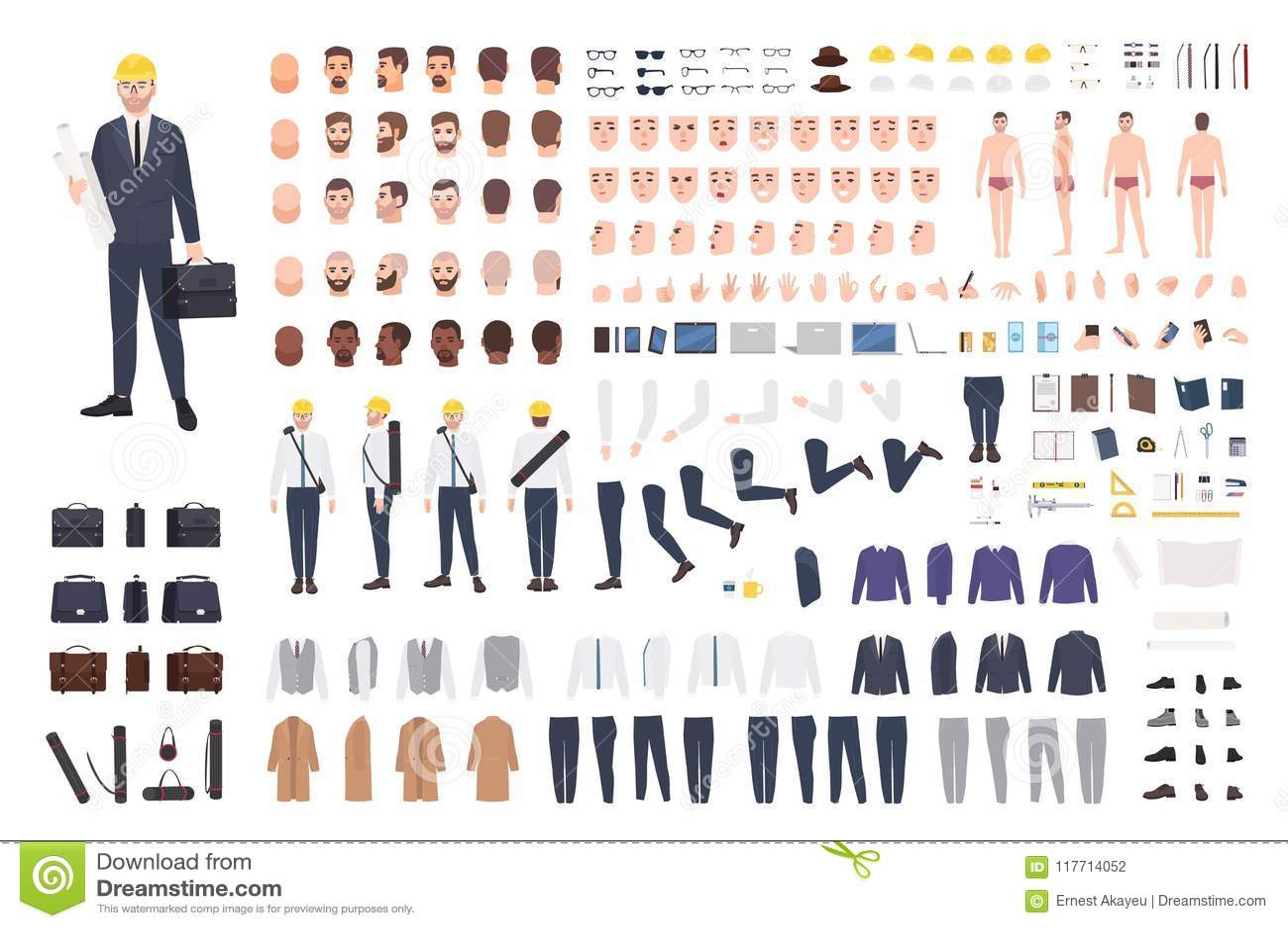 Constructeur d architecte ou d ingénieur ou kit de DIY Collection de parties du corps masculines de personnage de dessin animé, e