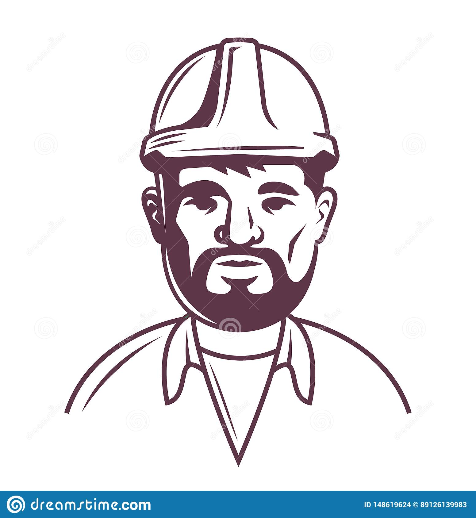 Constructeur masculin dans le casque sur un fond blanc moiti? sup?rieure du corps