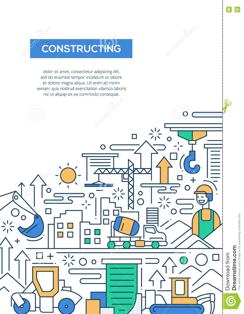 Constructing Line Design Brochure Poster Template A4 Stock Vector