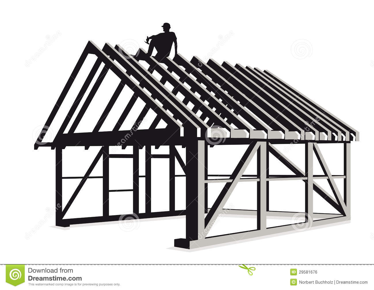 Building Construction Graphics : Constructing wood framed house royalty free stock image