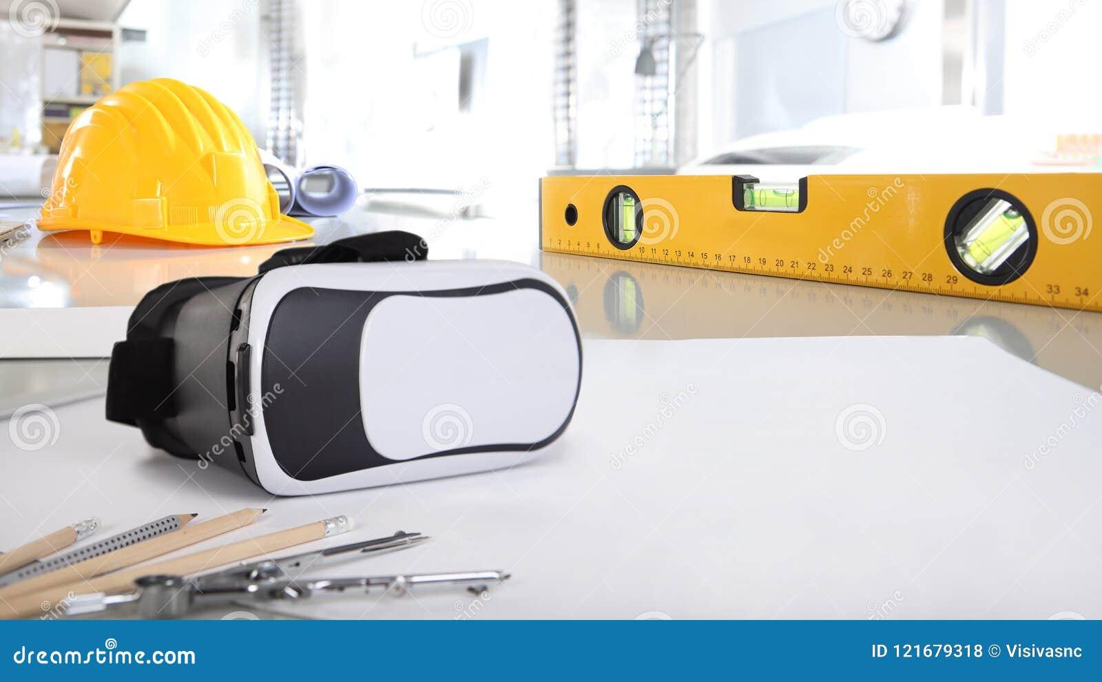 Constructio architectural de fond de bureau de bureau virtuel de réalité