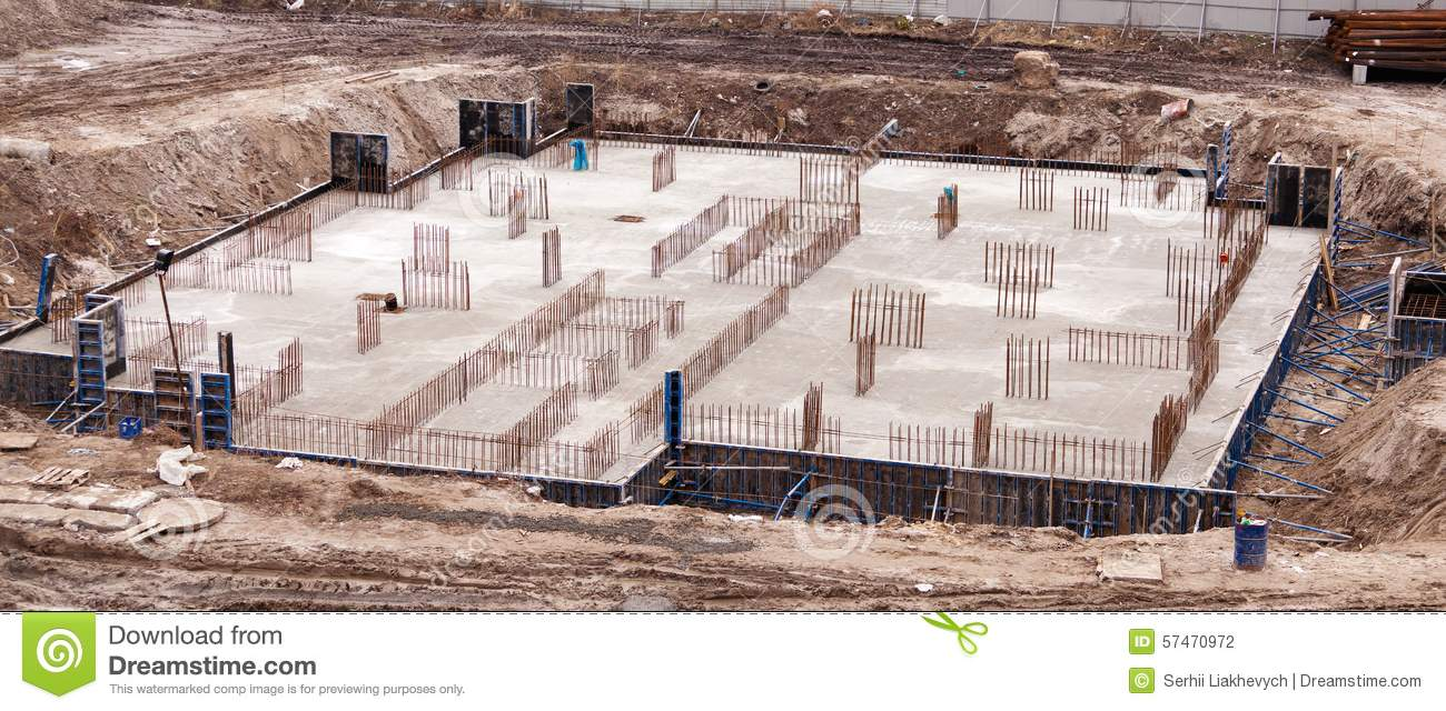 Construction of an apartment house stock photo image for House slab foundation