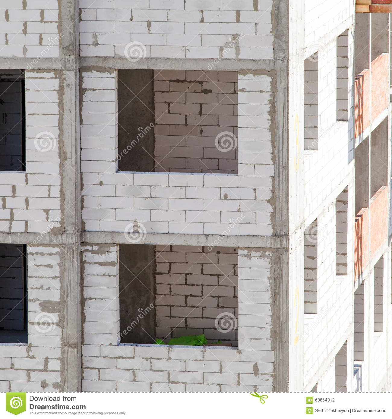 Construction Of An Apartment House Stock Photo - Image of helmet ...