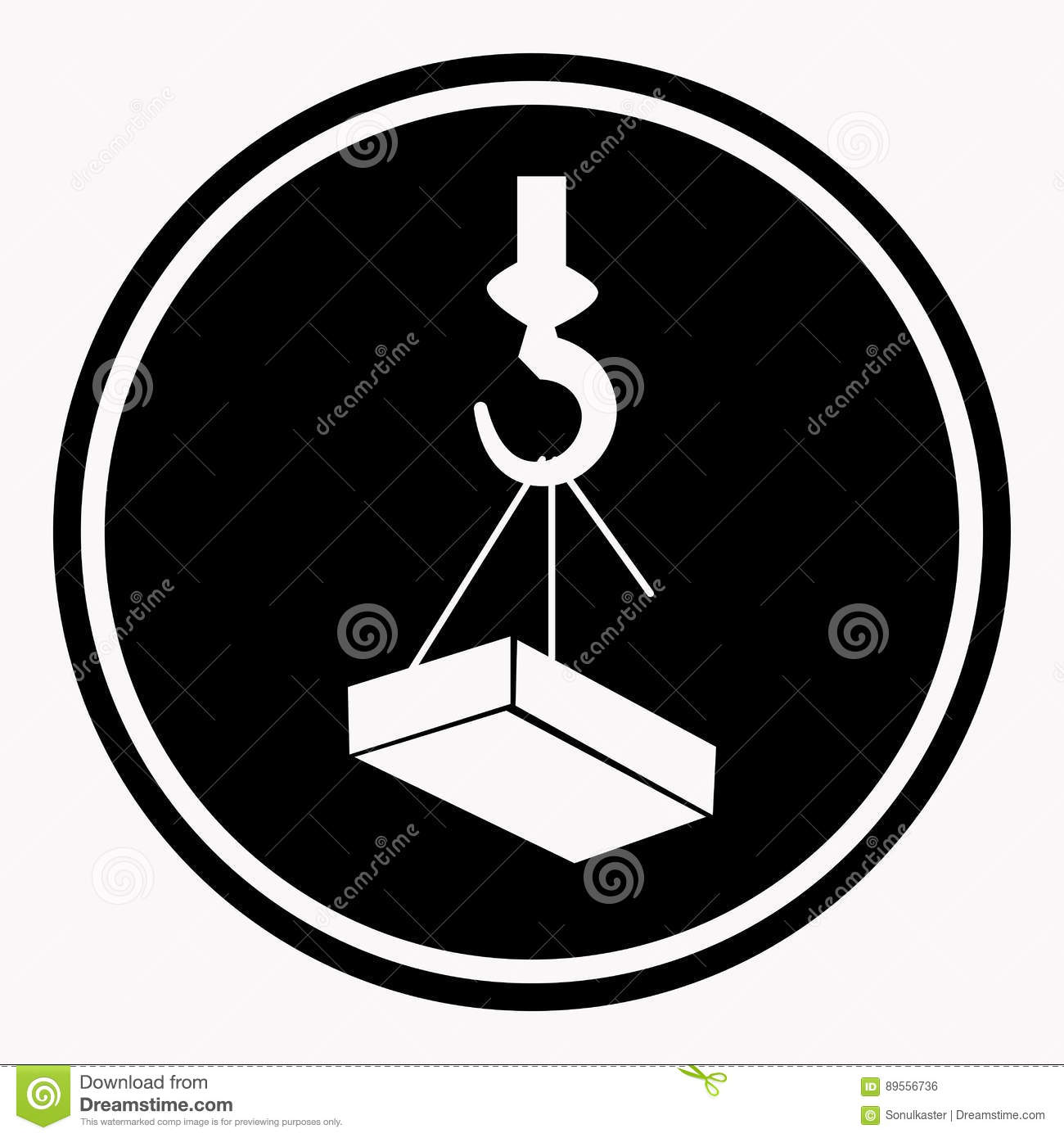 attention construction caution sign with heavy block on crane hook symbol   warning or danger precaution vector isolated icon or label