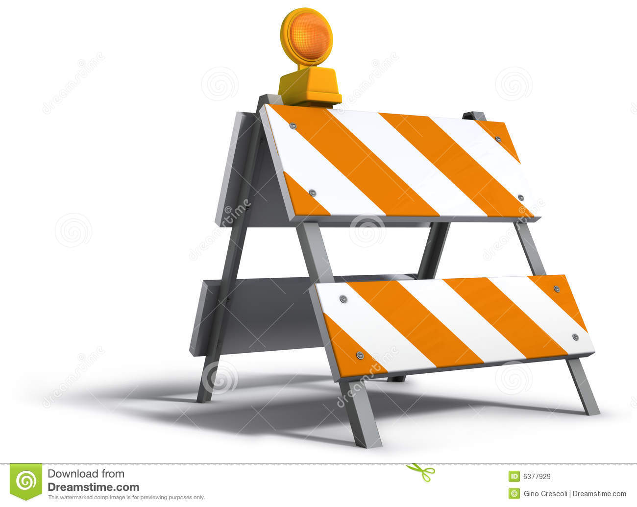 Construction barricade with flash light (clipping path included).