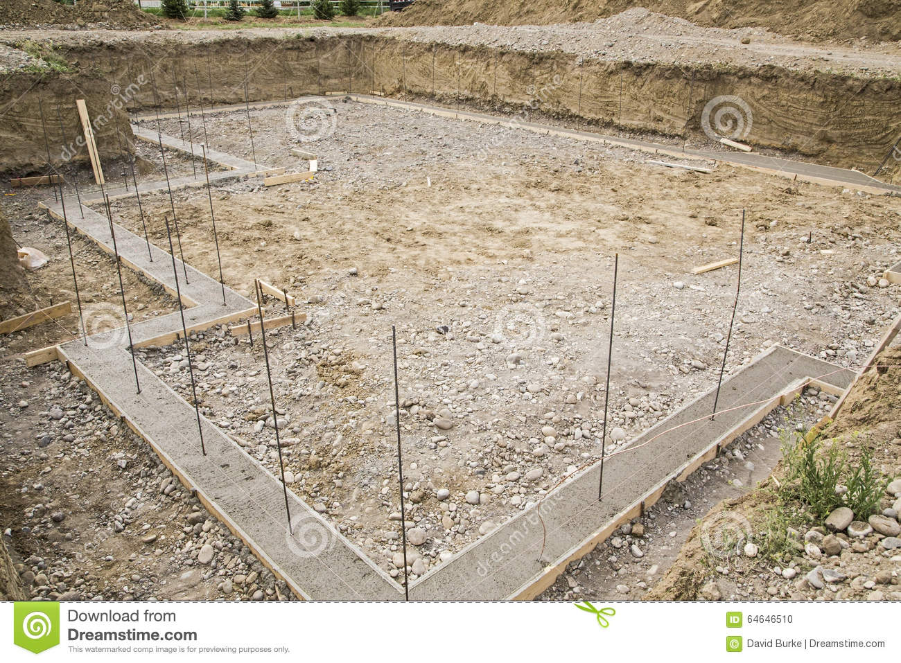 Construction basement footings rebar excavated stock photo for Basement foundation construction