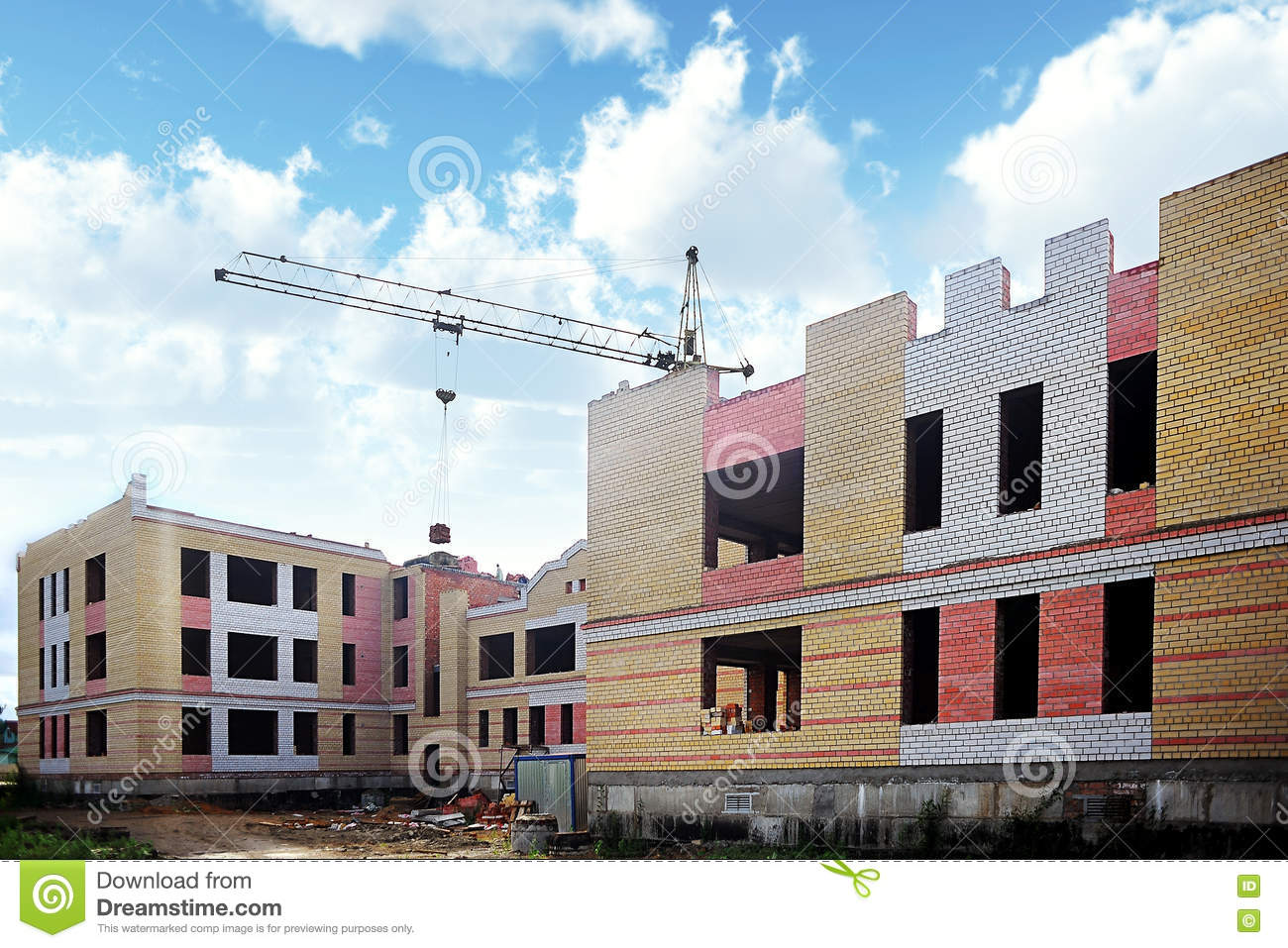 Construction of brick house stock photo image 74650782 for House building website