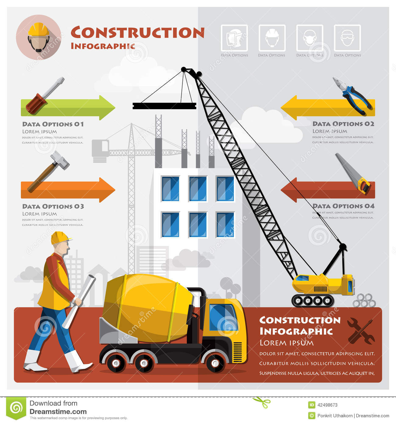 Construction infographic with unfocused background cartoon for Construction info