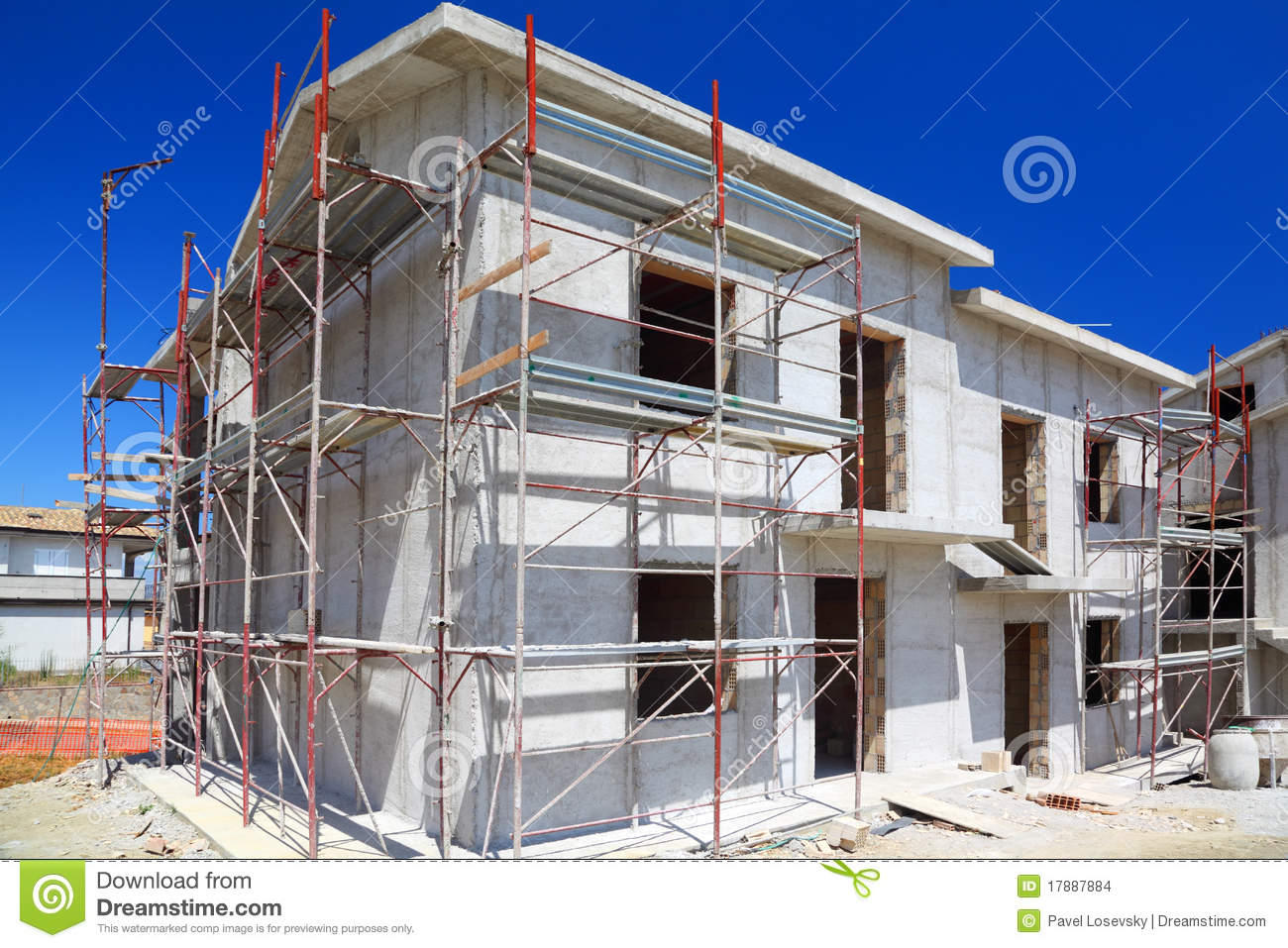 Cement House Construction : Construction of building concrete house stock photo