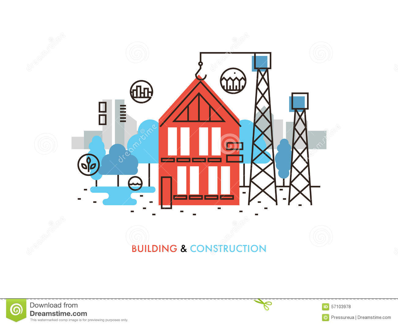 Construction building flat line illustration stock vector for Process for building a house