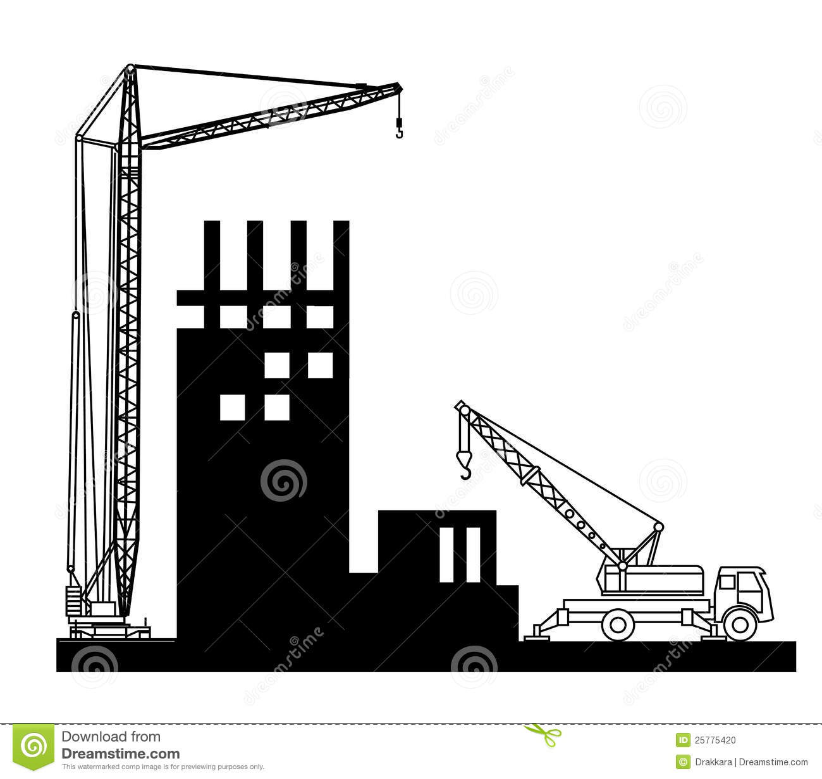Building Construction Clip Art : Construction of buildings wich crane stock photo image