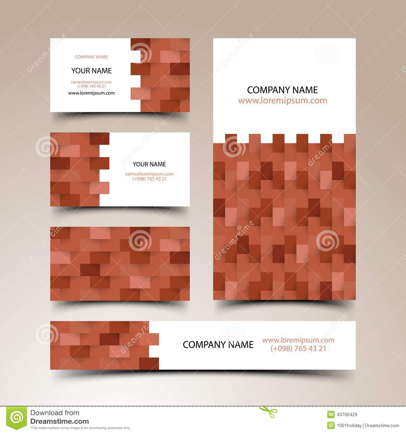 Construction Business Card Set Stock Vector - Image: 43706429