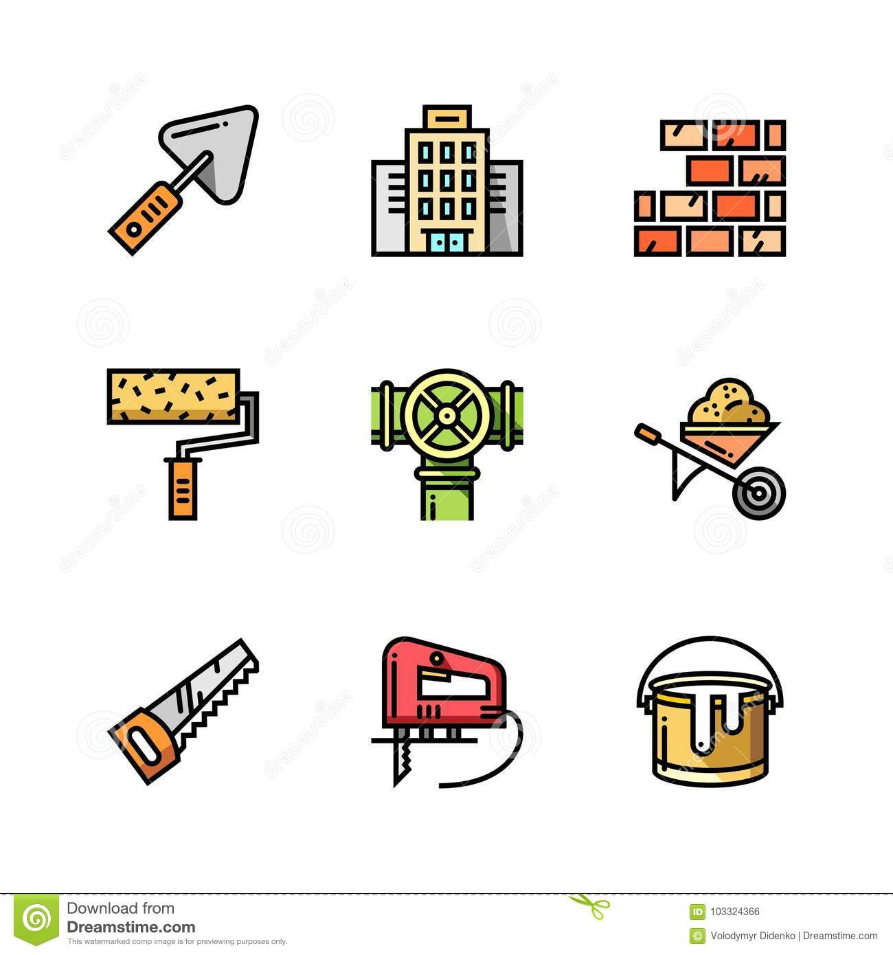 Building, Construction And Home Repair Tools Simple Outline Colorful Icons  For Web And Mobile Design