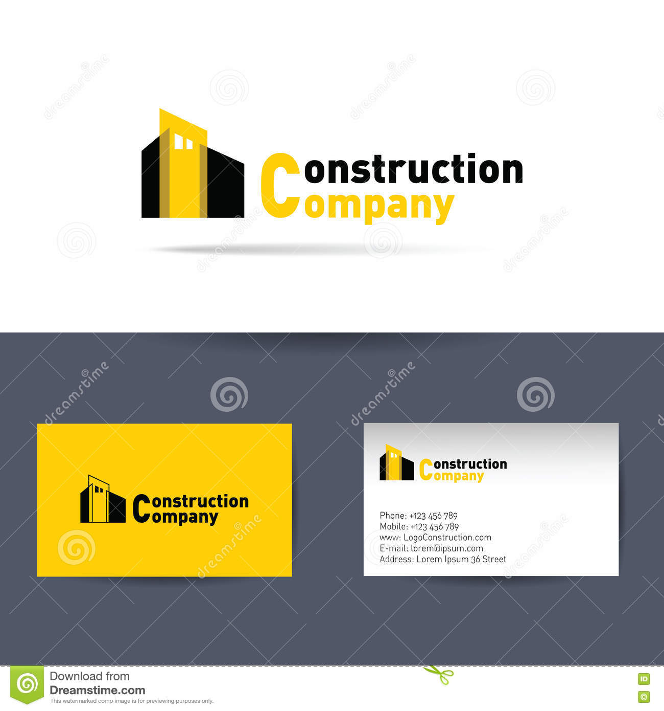 Construction company business card template stock vector download comp wajeb Choice Image