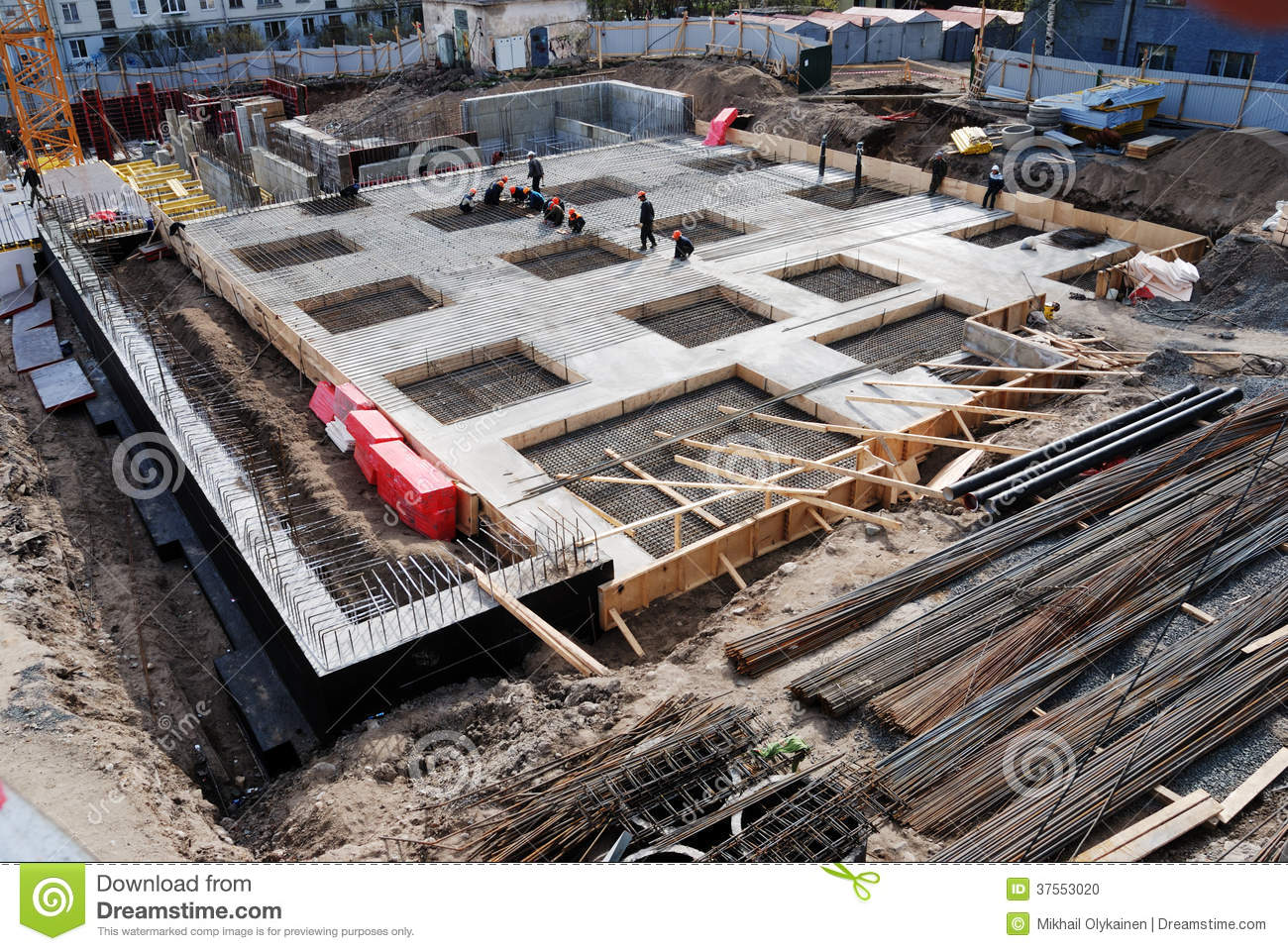 Construction Of Concrete Foundation Of Building Stock