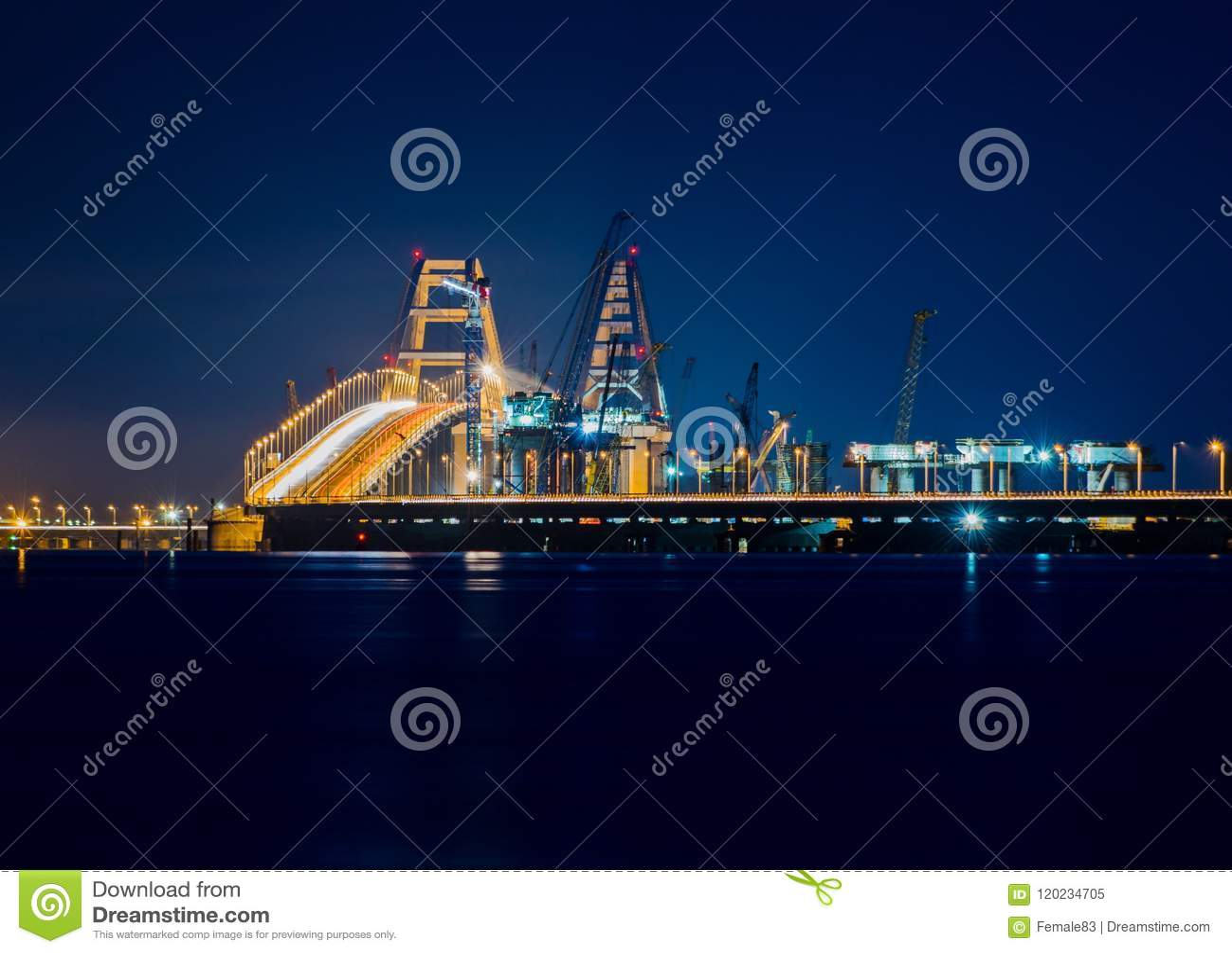 Construction Of The Crimean Bridge In Kerch Strait At Night Stock