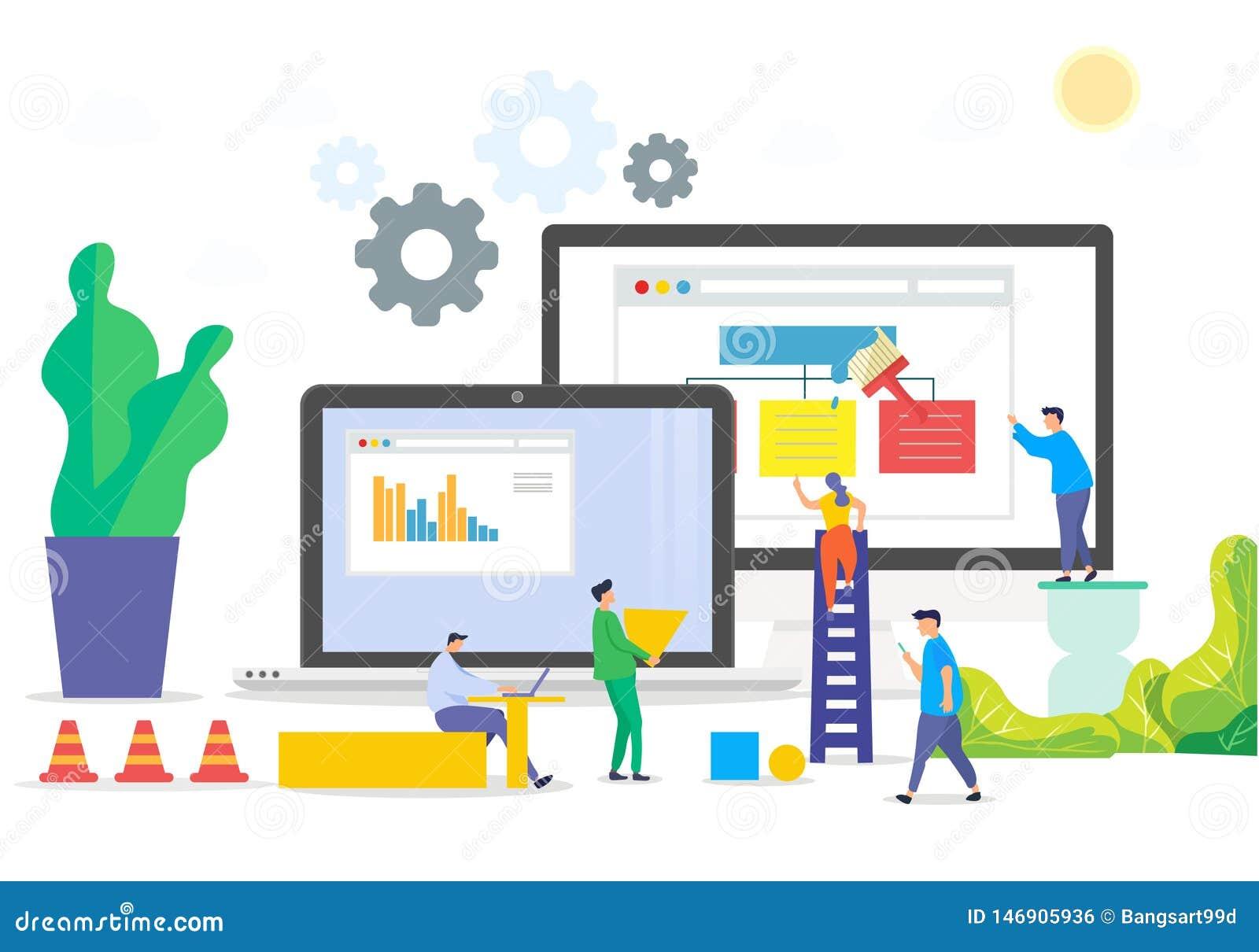 Construction d illustration de site Web de local commercial
