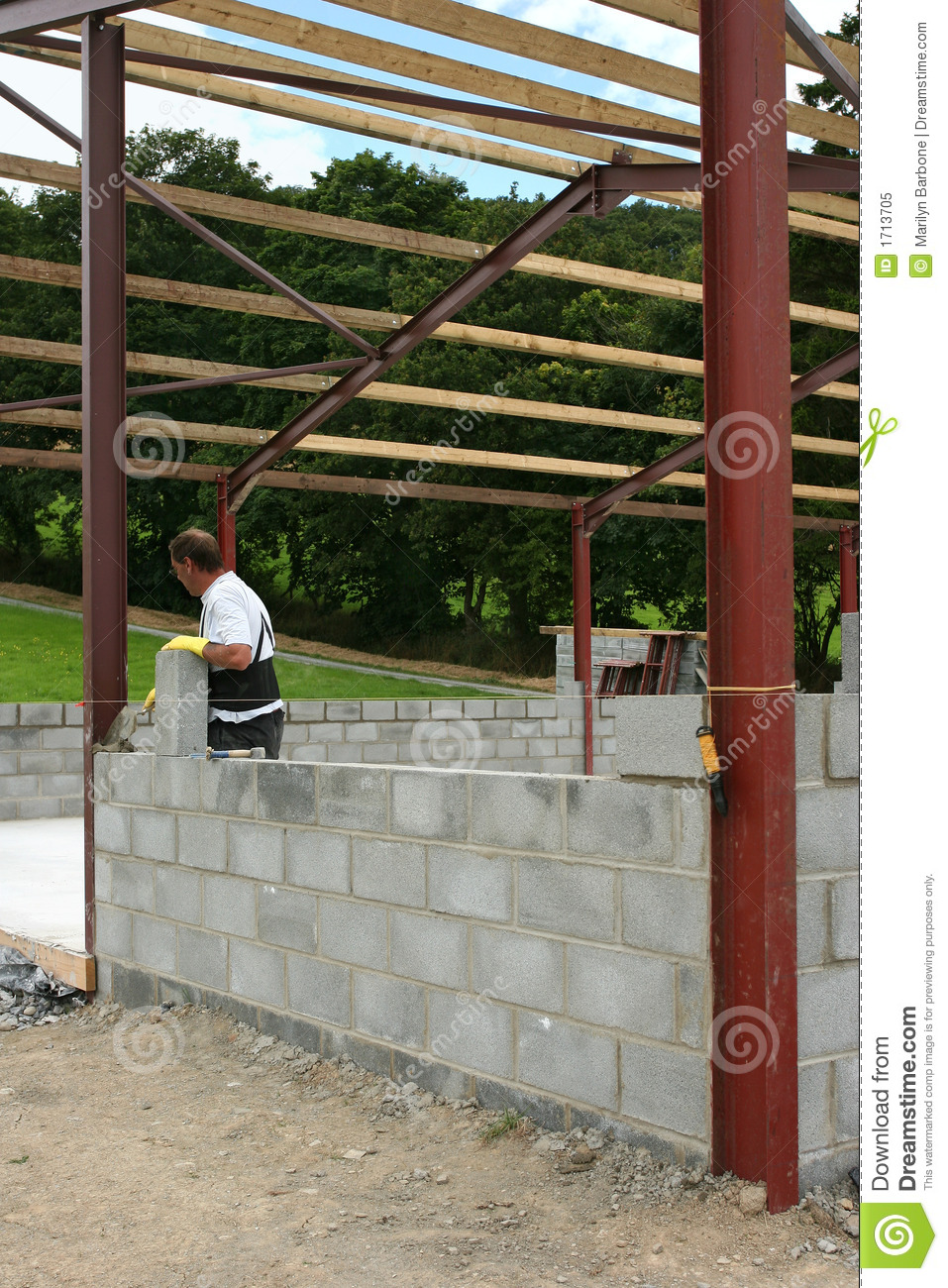 Construction d 39 un mur de bloc concret image stock image for Concevez vos propres plans de construction gratuitement
