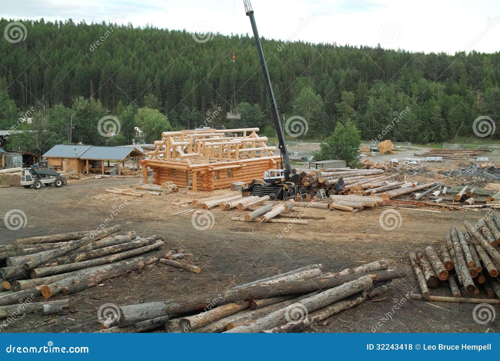 construction de cabane en rondins colombie britannique canada photos libres de droits image. Black Bedroom Furniture Sets. Home Design Ideas