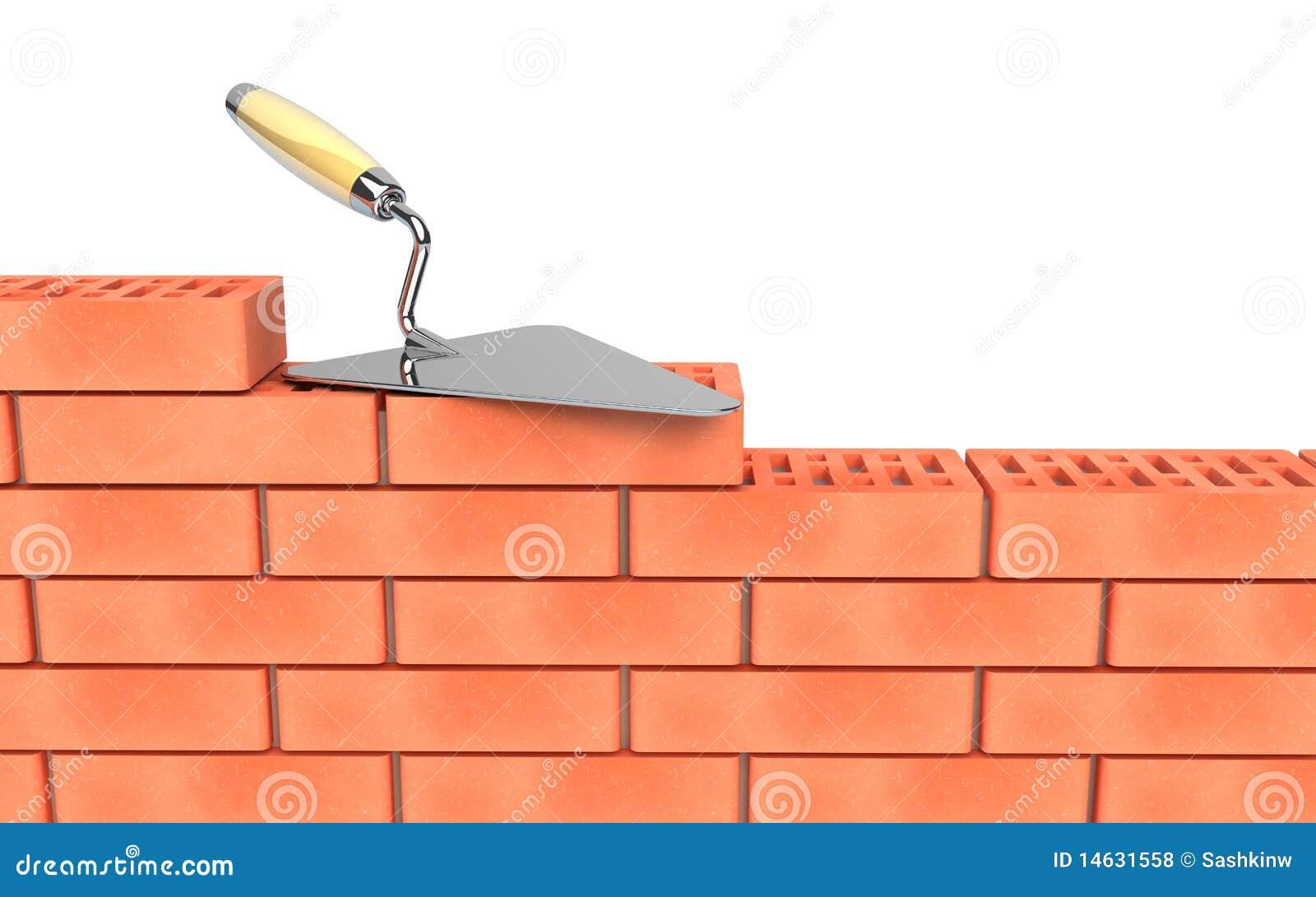 construction de truelle et de mur de briques illustration stock illustration du outil maison. Black Bedroom Furniture Sets. Home Design Ideas