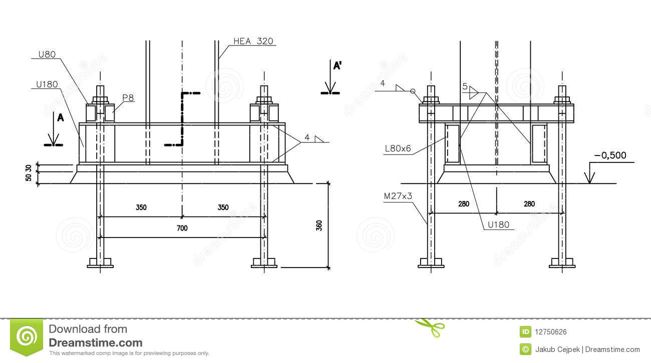 construction drawing  steel column anchoring royalty free