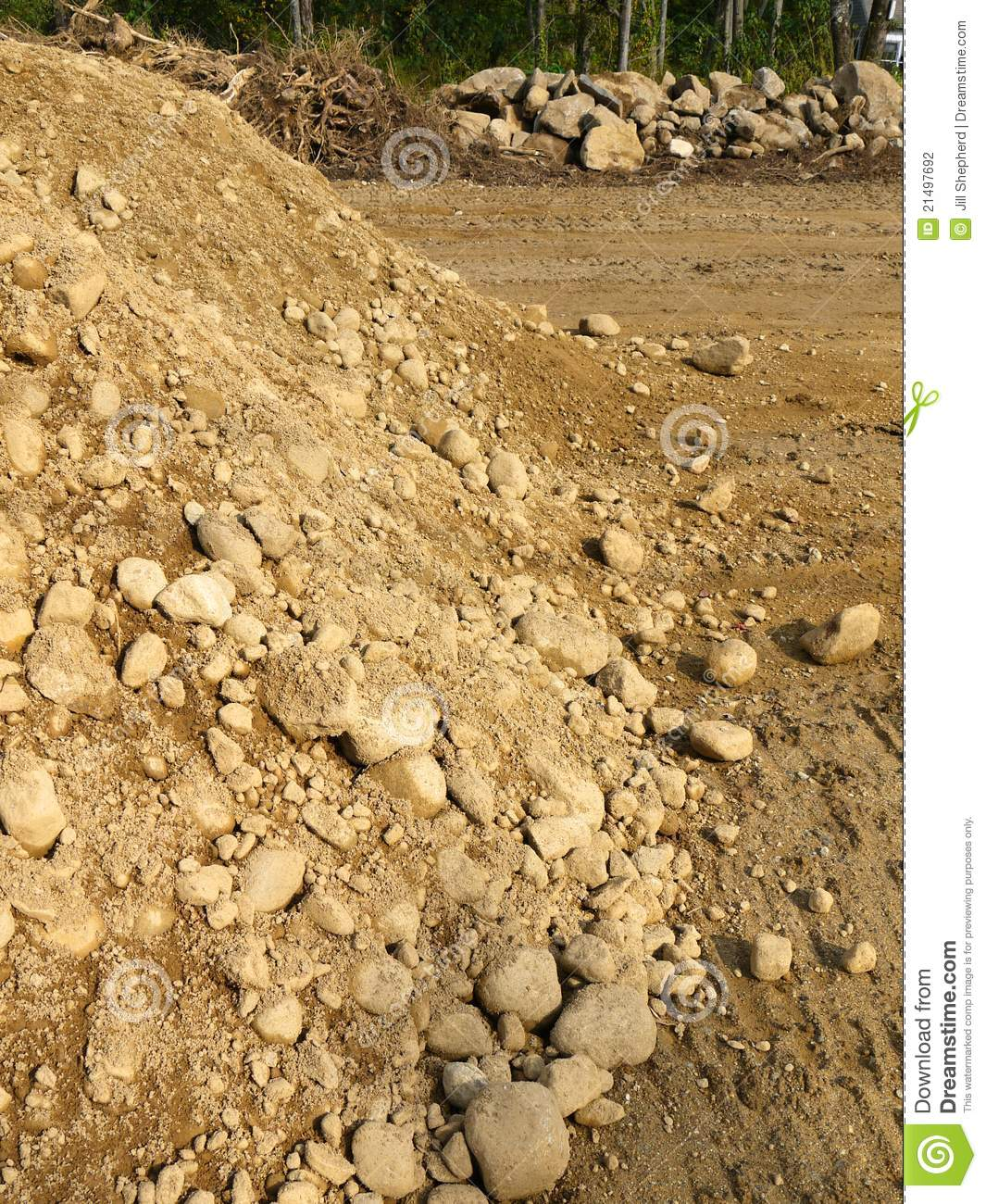 Construction Earth Pile And Excavated Rocks Stock