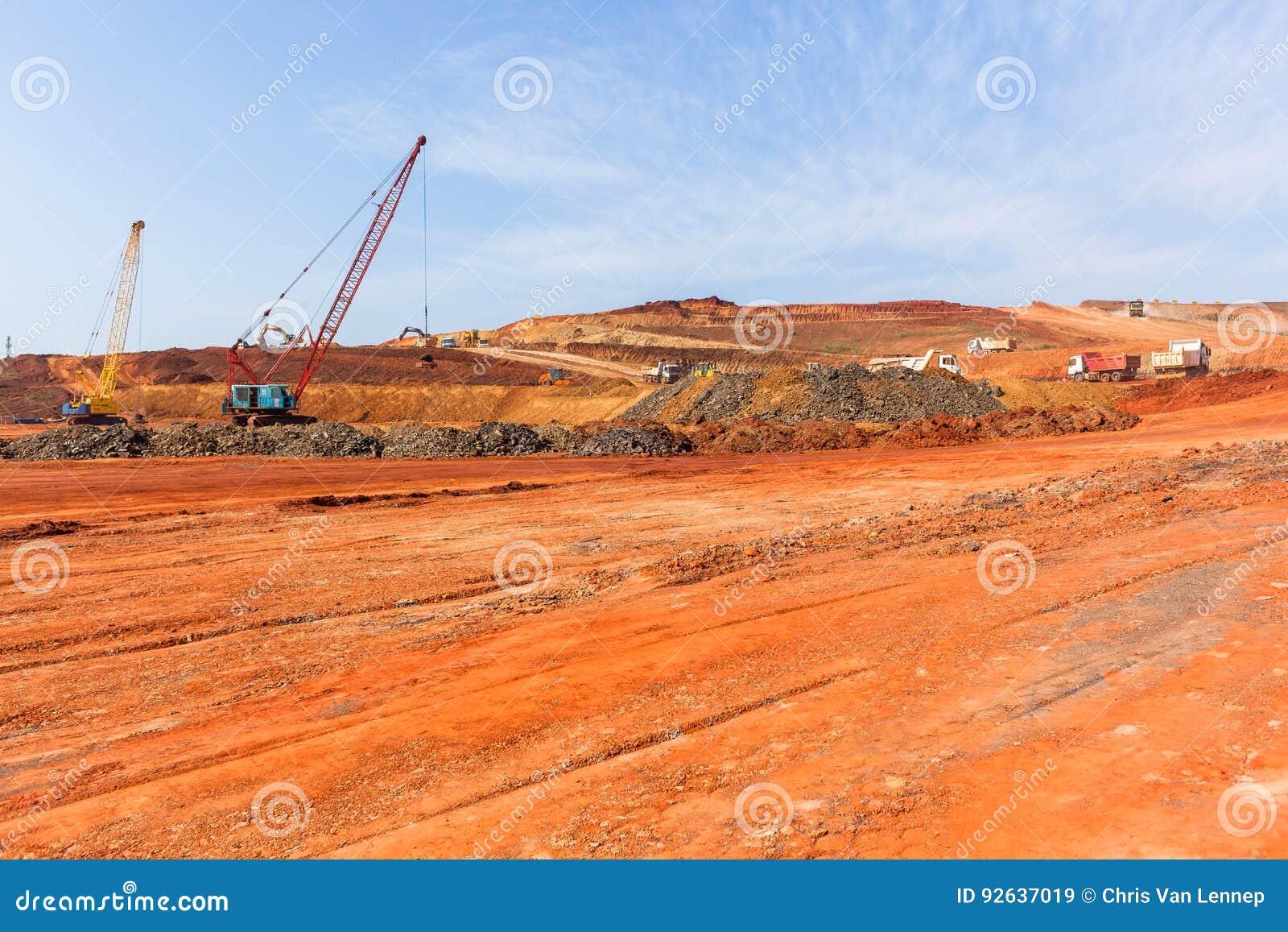 Construction Earthworks Cranes Trucks Landscape
