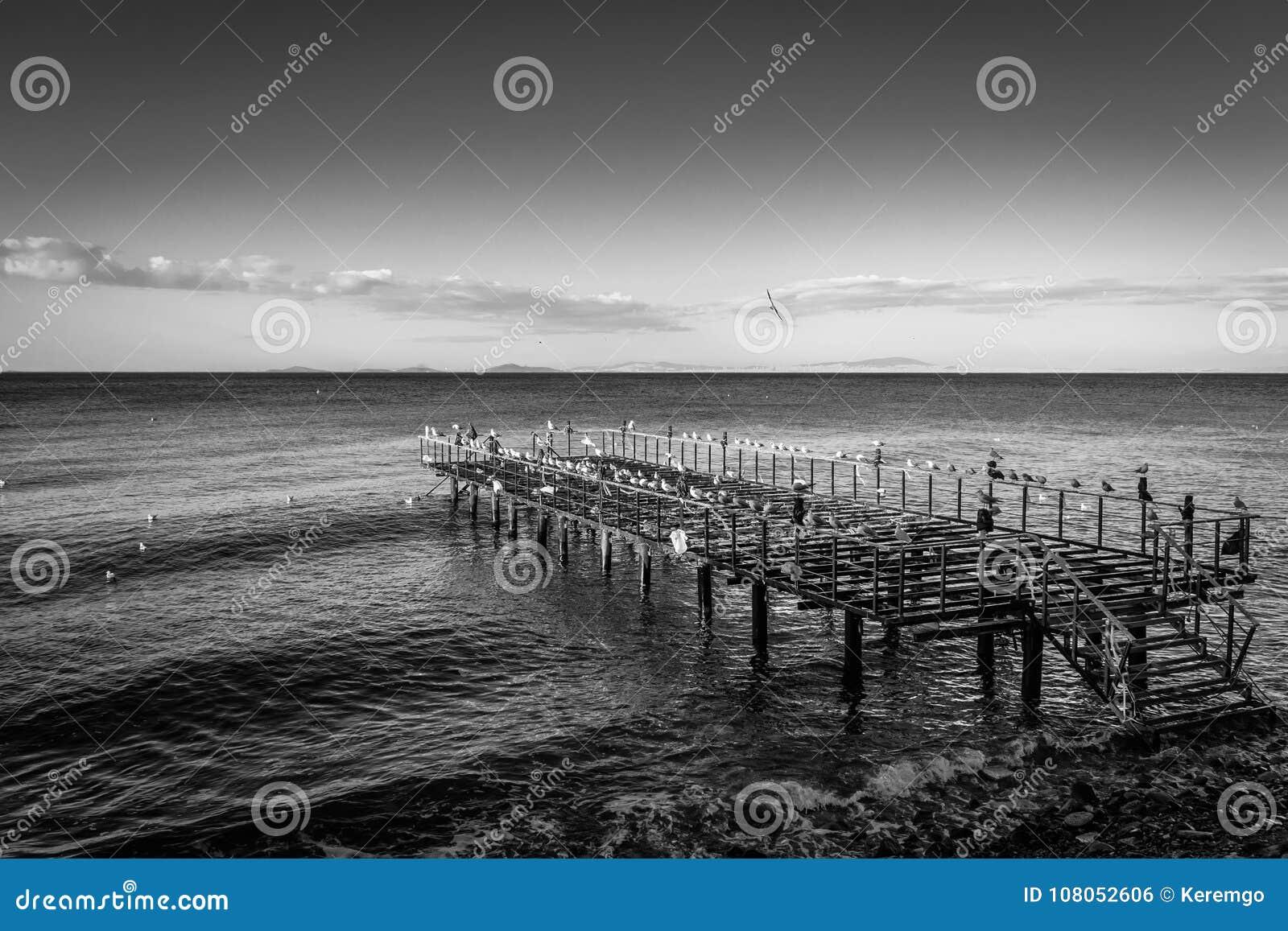 Construction en acier désolée Pier On Seaside